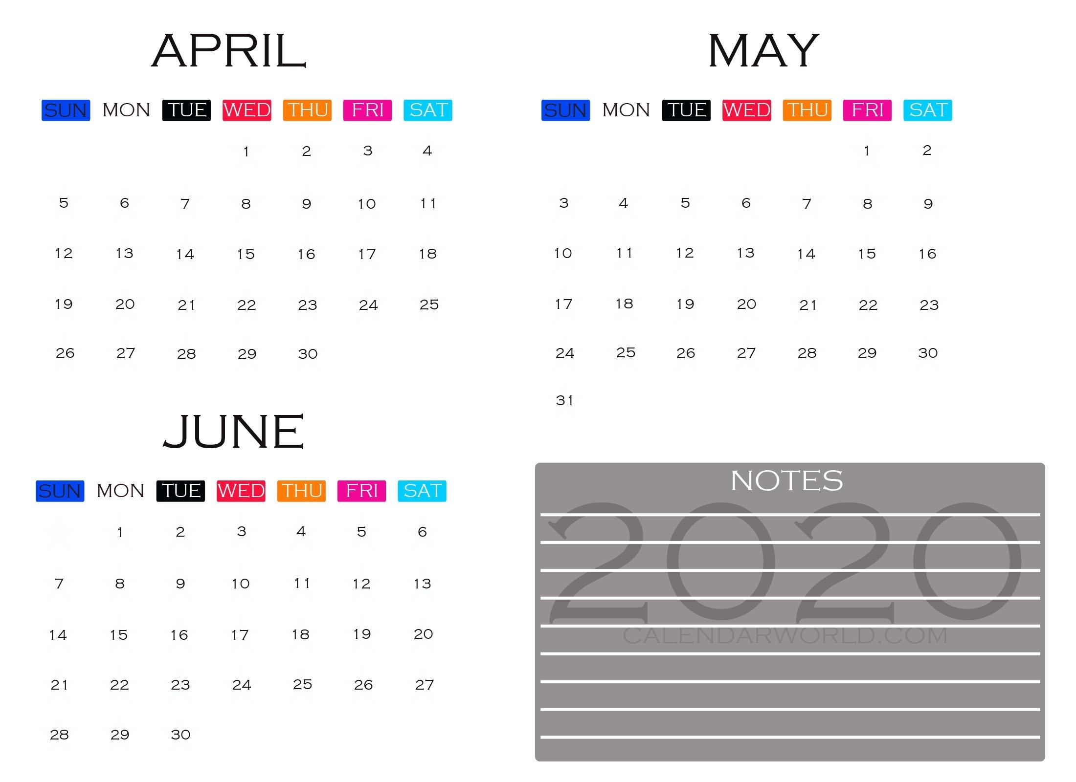 April- May- June 2020 Quarterly Calendar Printable Templates