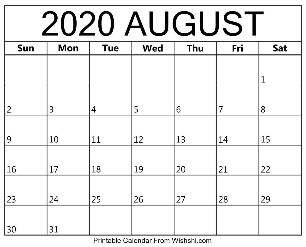 August 2020 Calendar Printable - Free Printable Calendars