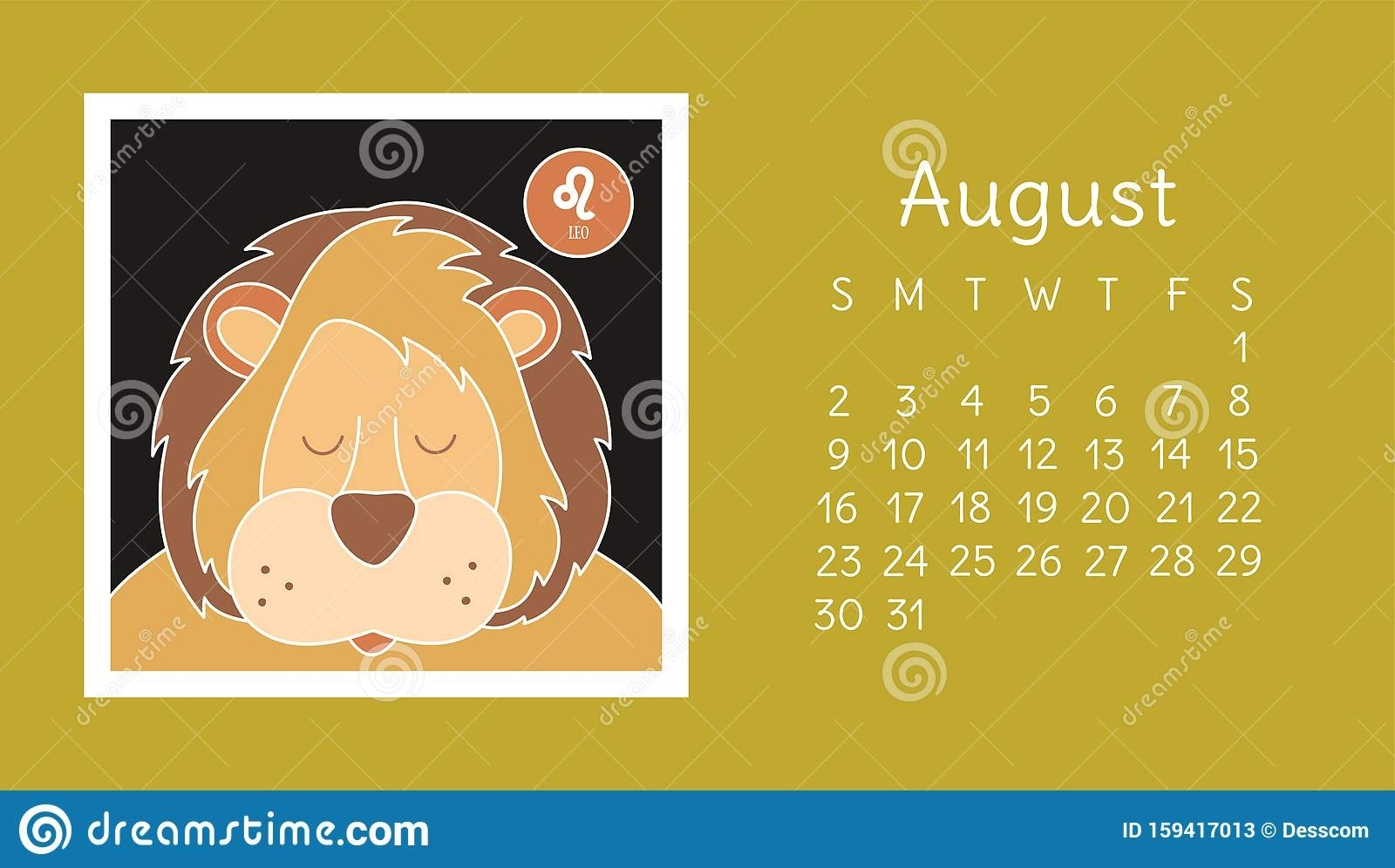August 2020. Calendar. Zodiac Sign: Leo. Vector Horoscope
