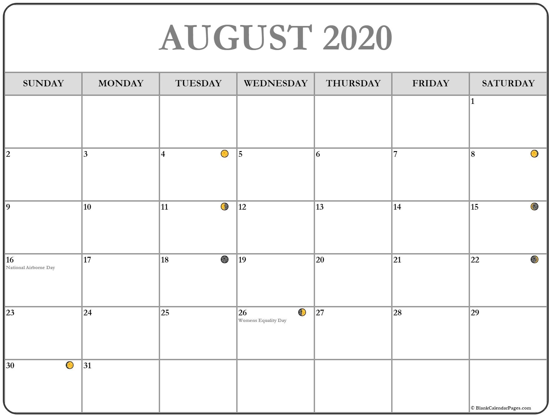 August 2020 Lunar Calendar | Moon Phase Calendar