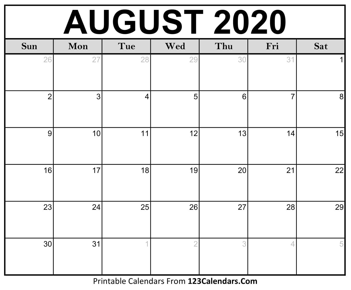August 2020 Printable Calendar | 123Calendars