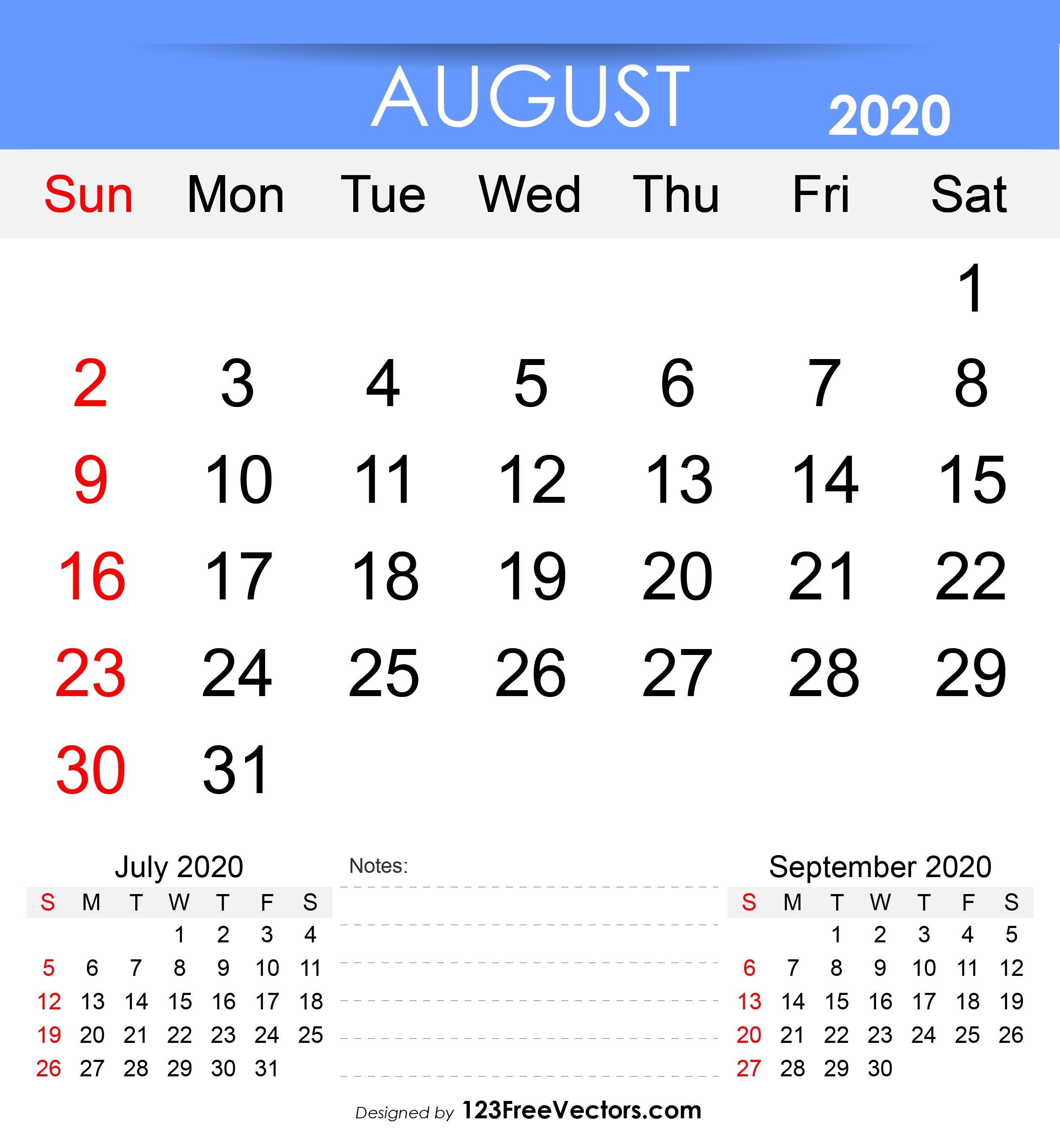 August 7 2020 Calendar | Calendar Printables Free Templates