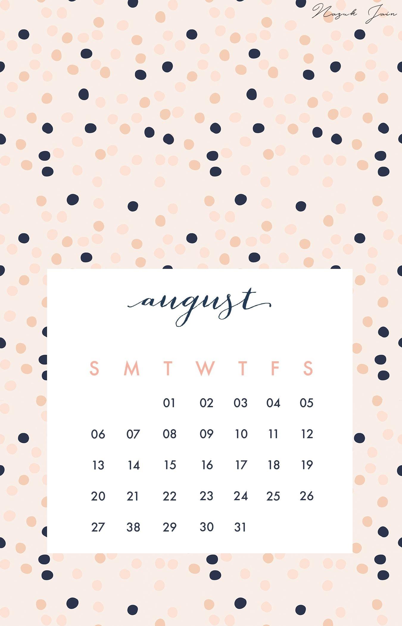 August - Free Calendar Printables 2017Nazuk Jain