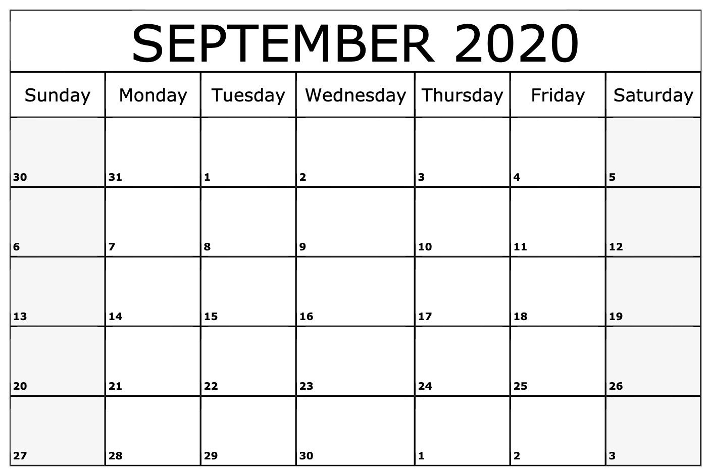 Awesome September 2020 Calendar Pdf, Word, Excel Printable
