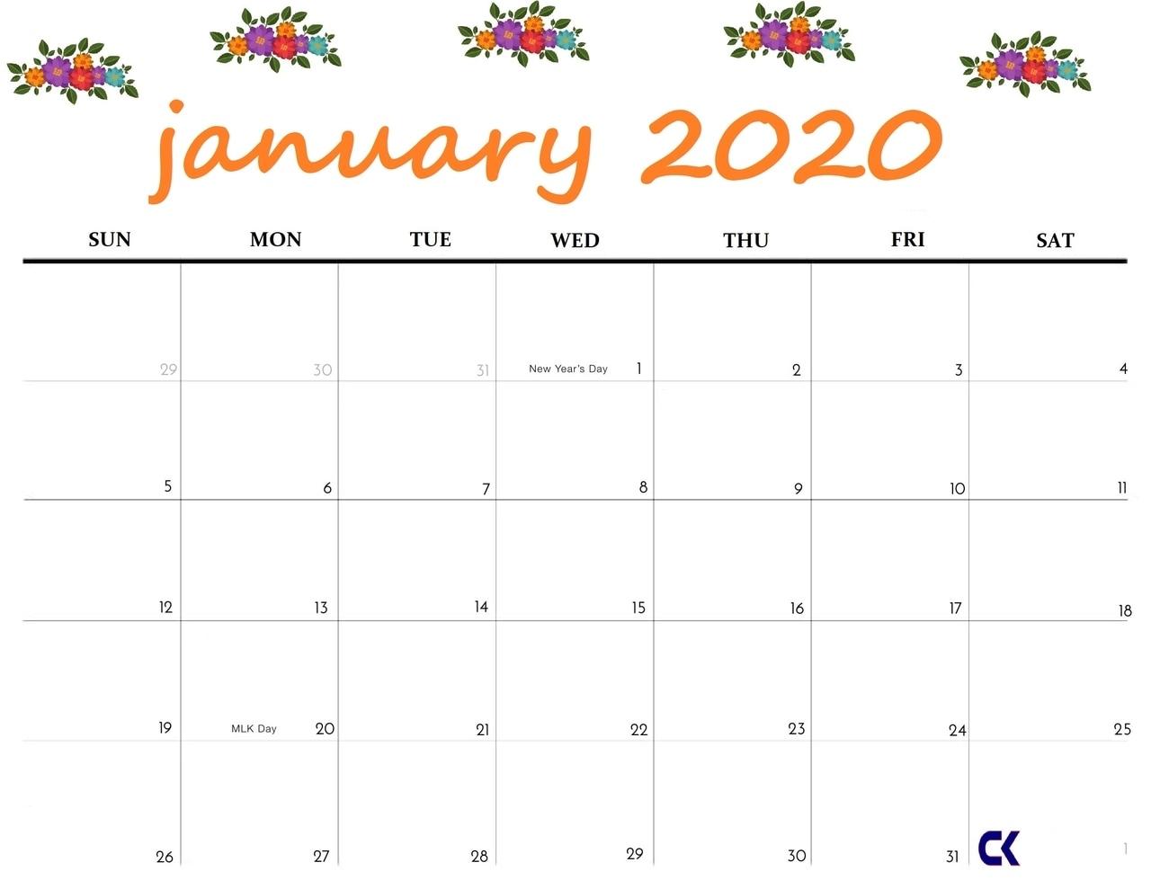 Best Cute January 2020 Calendar Floral Wallpaper For Desktop