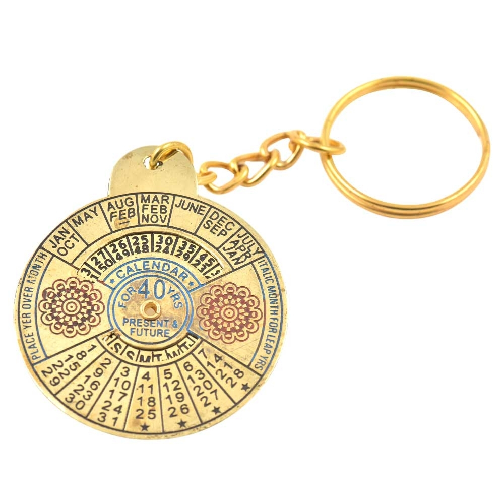 Big Flower Keychain Brass Vintage Look 40 Years Calendar