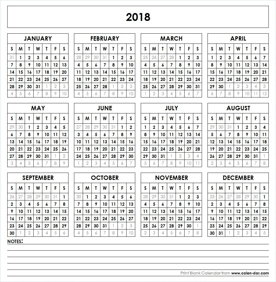 Blank 2018 Printable Calendar Template Pdf | Yearly Calendar