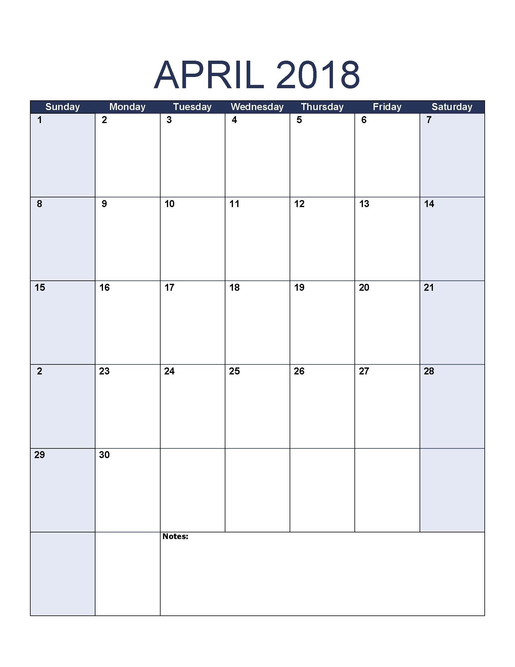Blank April 2018 Calendar To Print