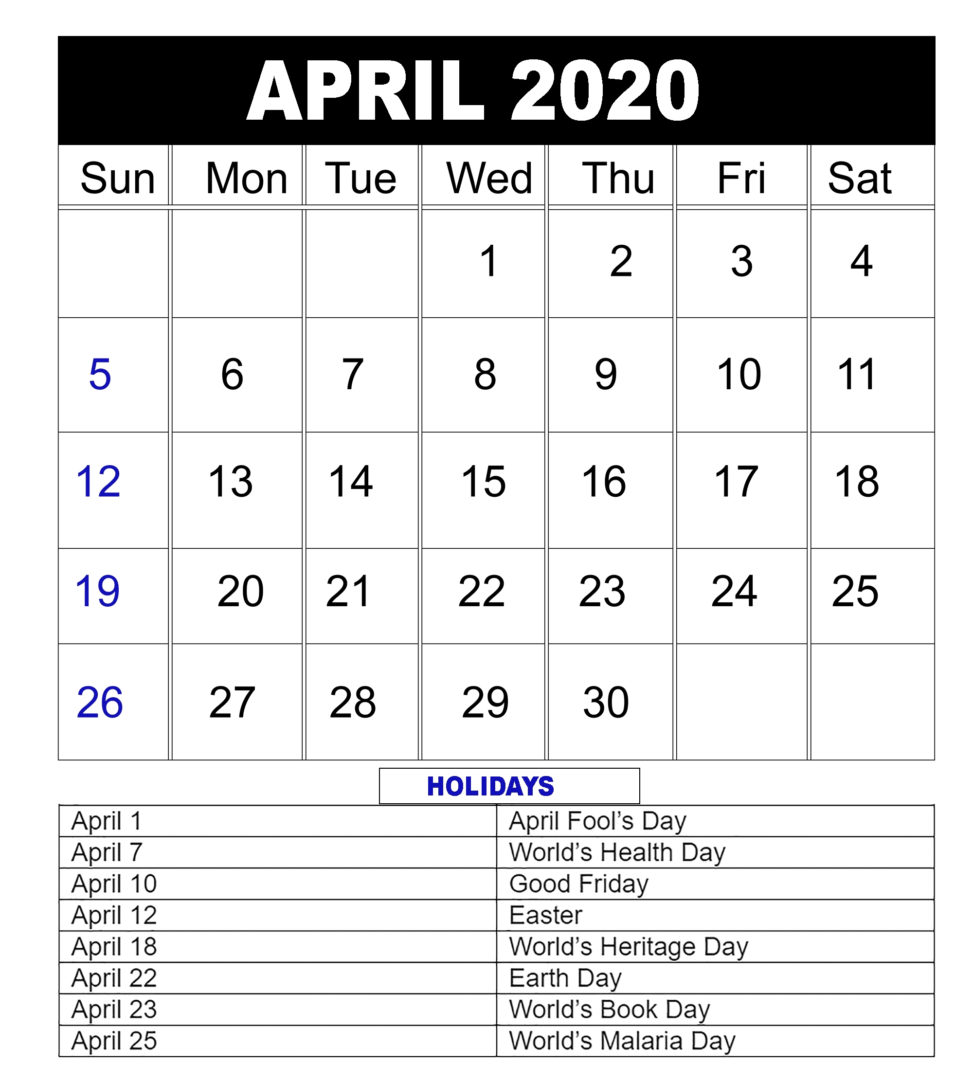 Blank April 2020 Calendar Editable Printable Template (With