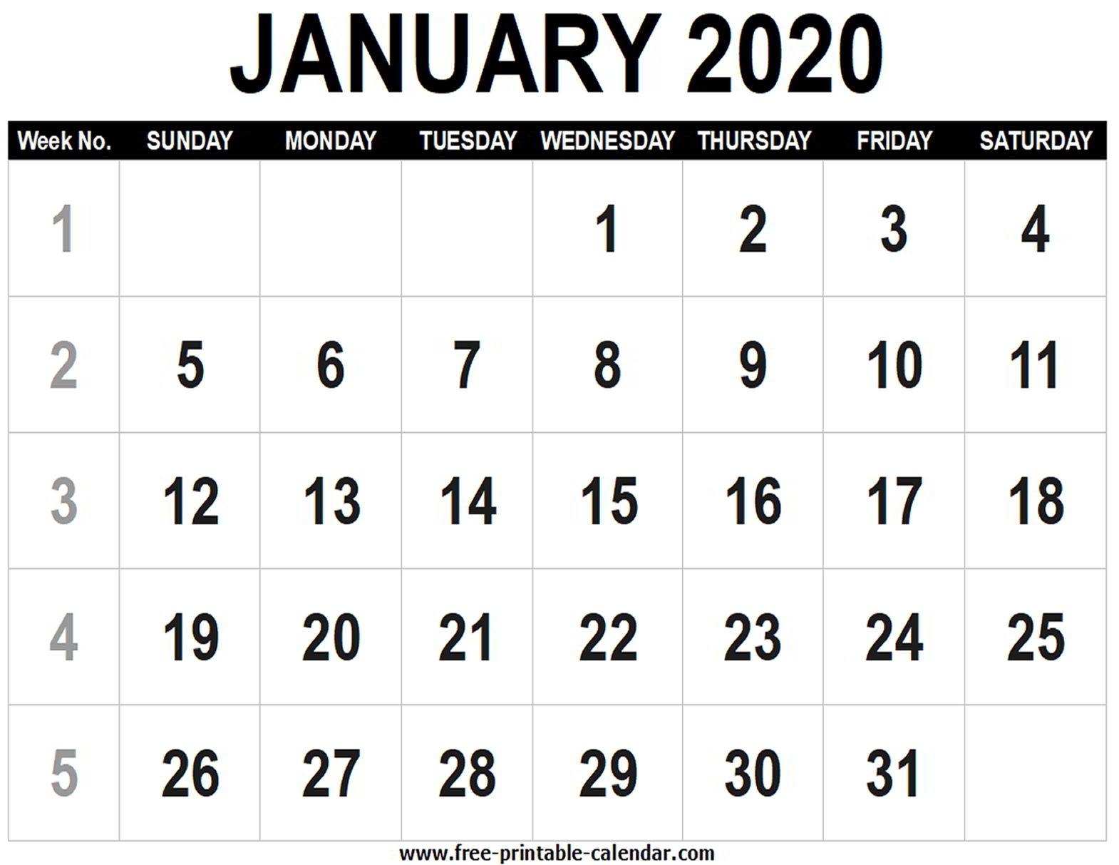 Blank Calendar 2020 January - Free-Printable-Calendar
