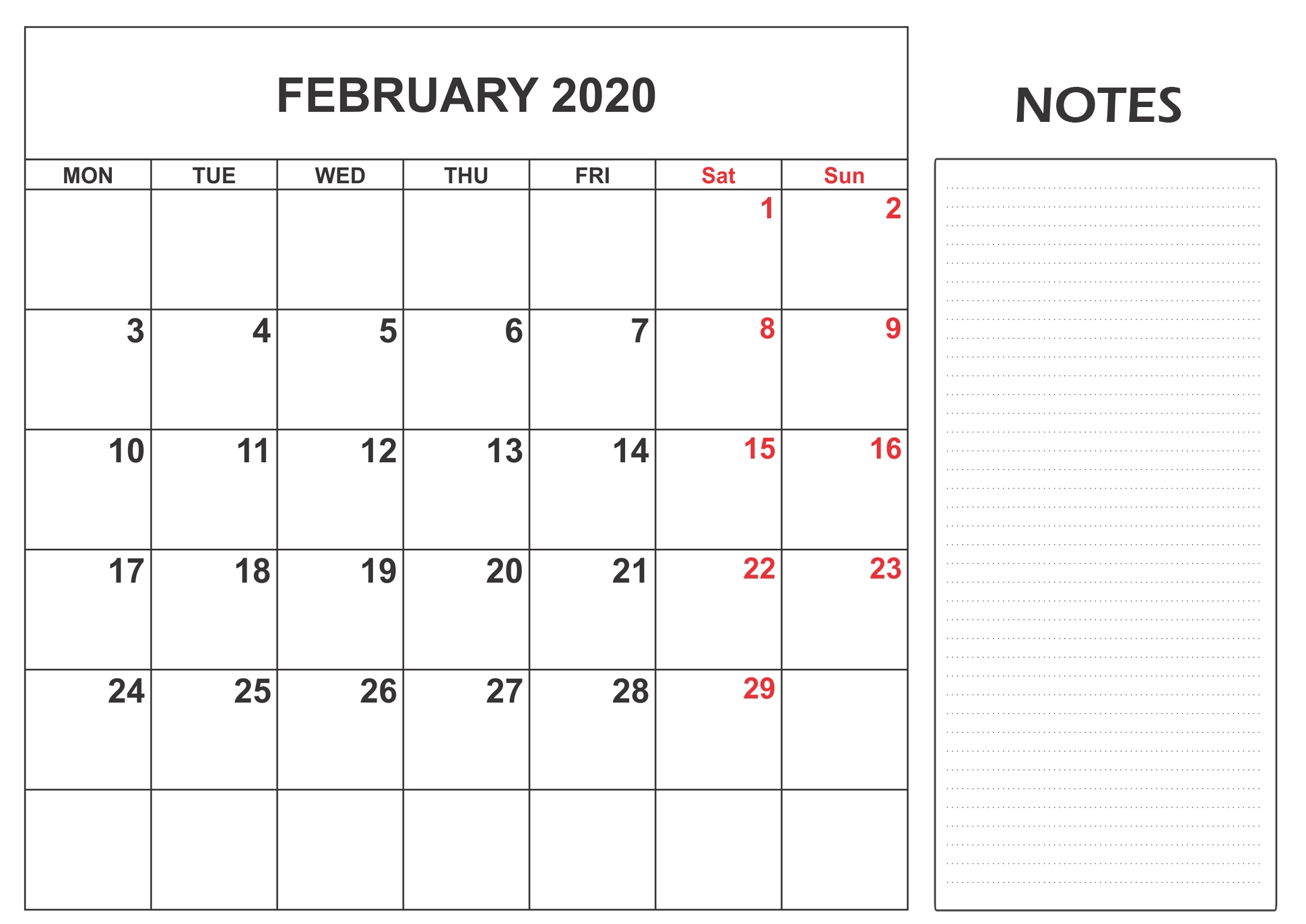 Blank Calendar February 2020 With Notes Monthly - Set Your