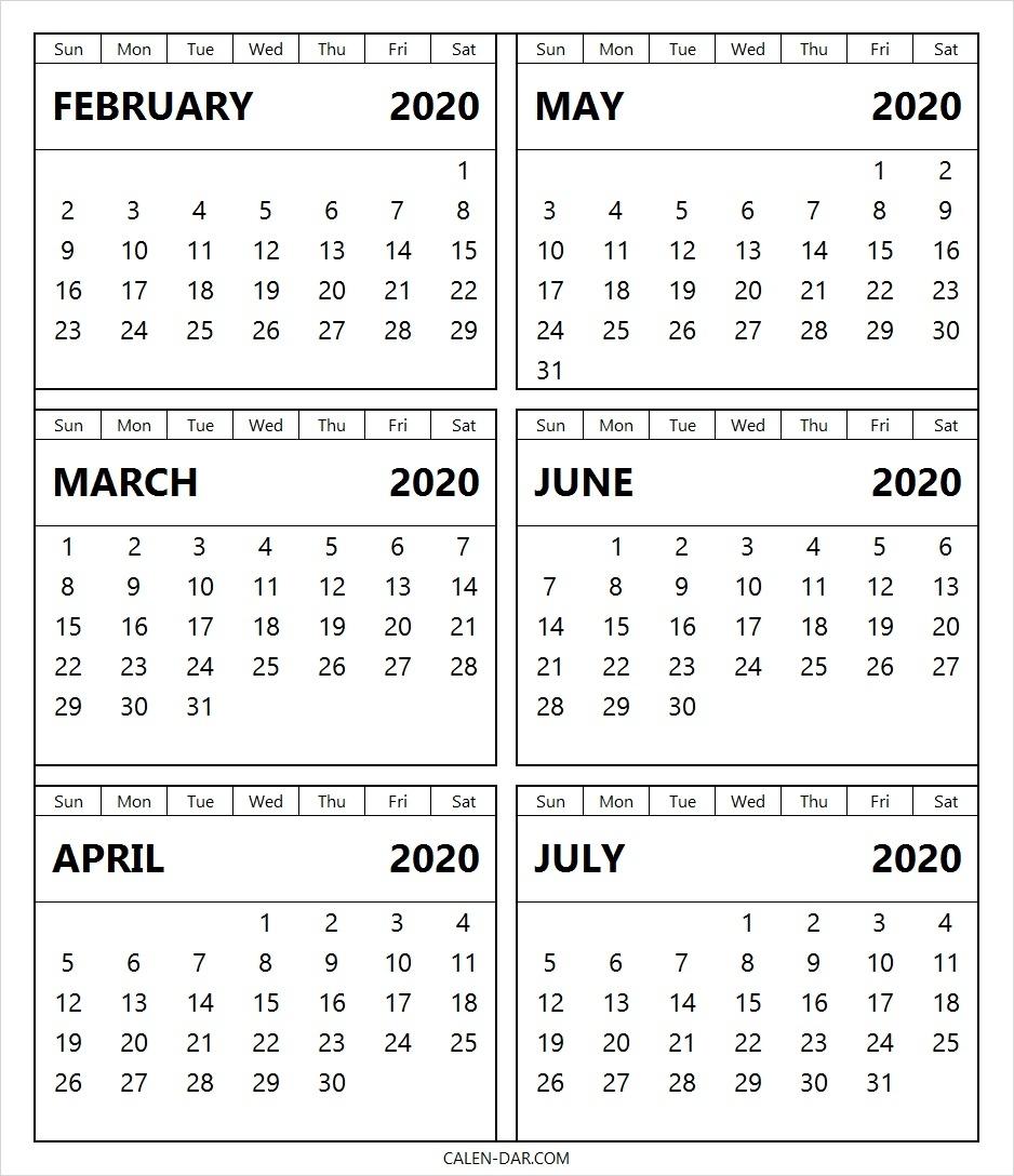 Blank Calendar February To July 2020 Printable Template