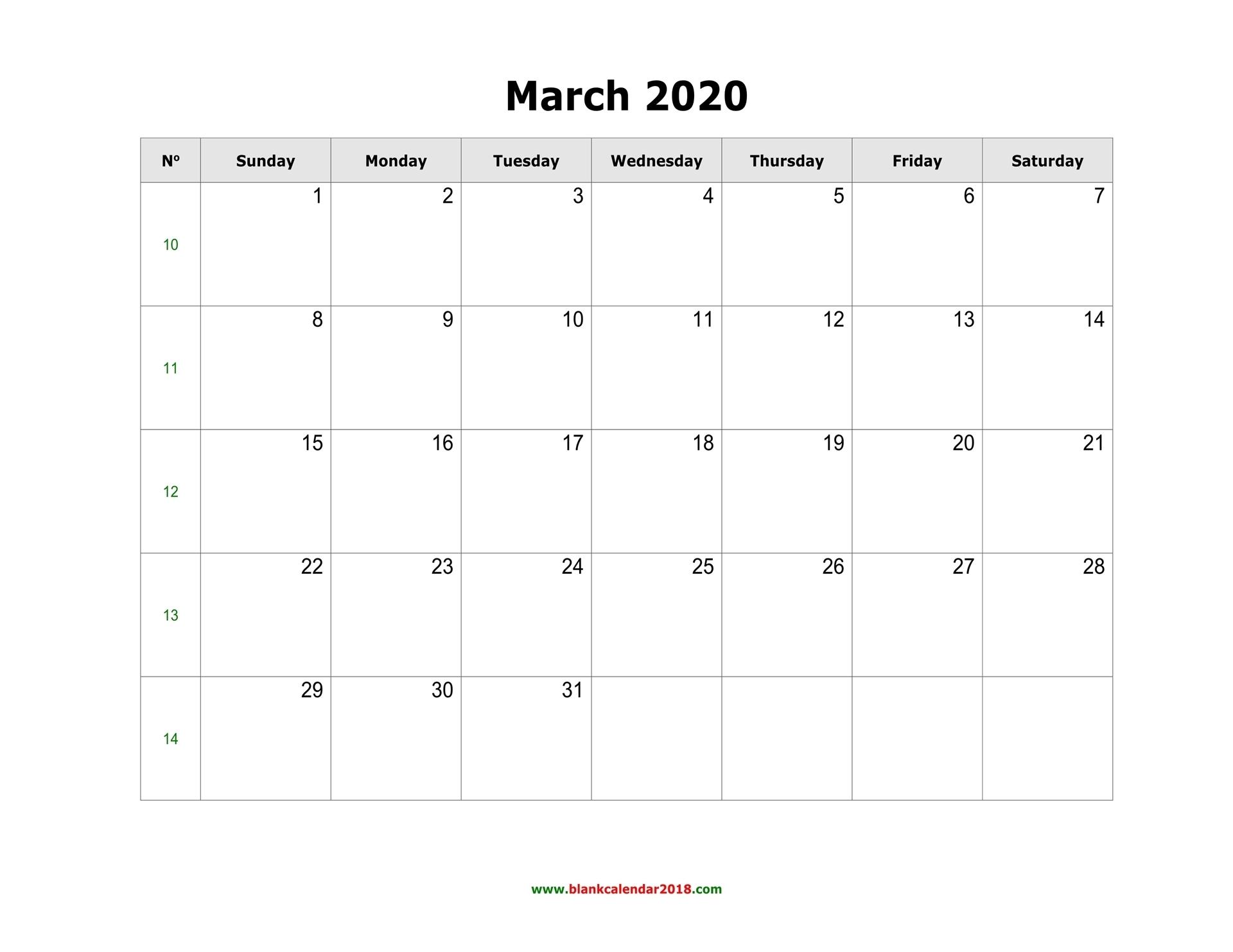 Blank Calendar For March 2020