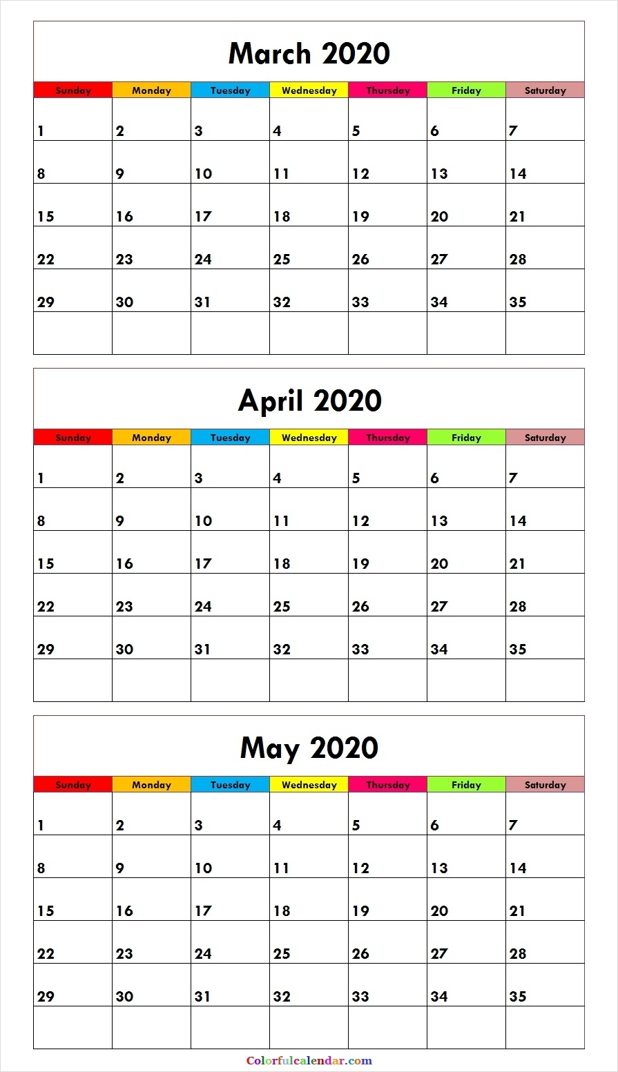 Blank Cute March April May 2020 Calendar | 2020 Calendar Outline