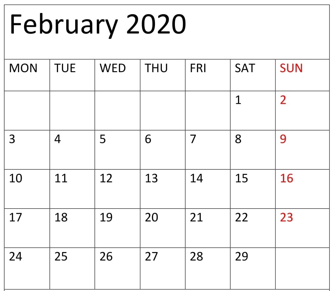 Blank February 2020 Calendar Excel, Word Template - Latest