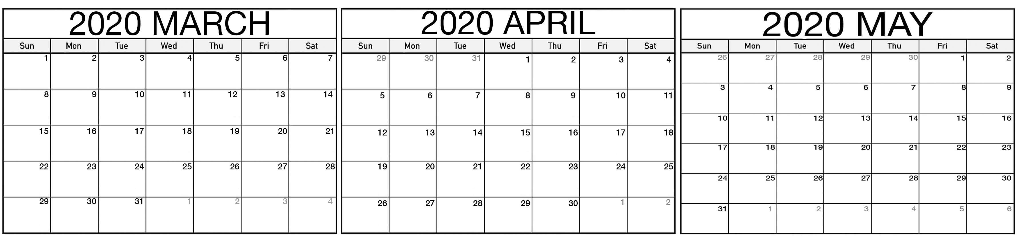 Blank March To May 2020 Calendar For Planning - Set Your