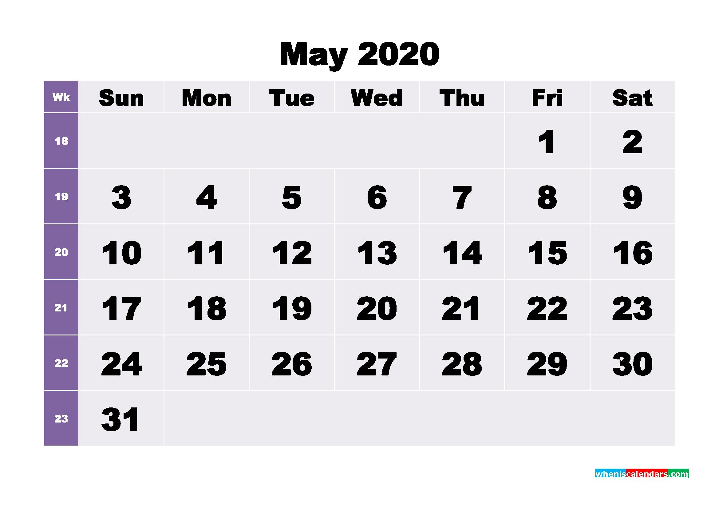 Blank May 2020 Calendar Printable – No.m20B269 – Free