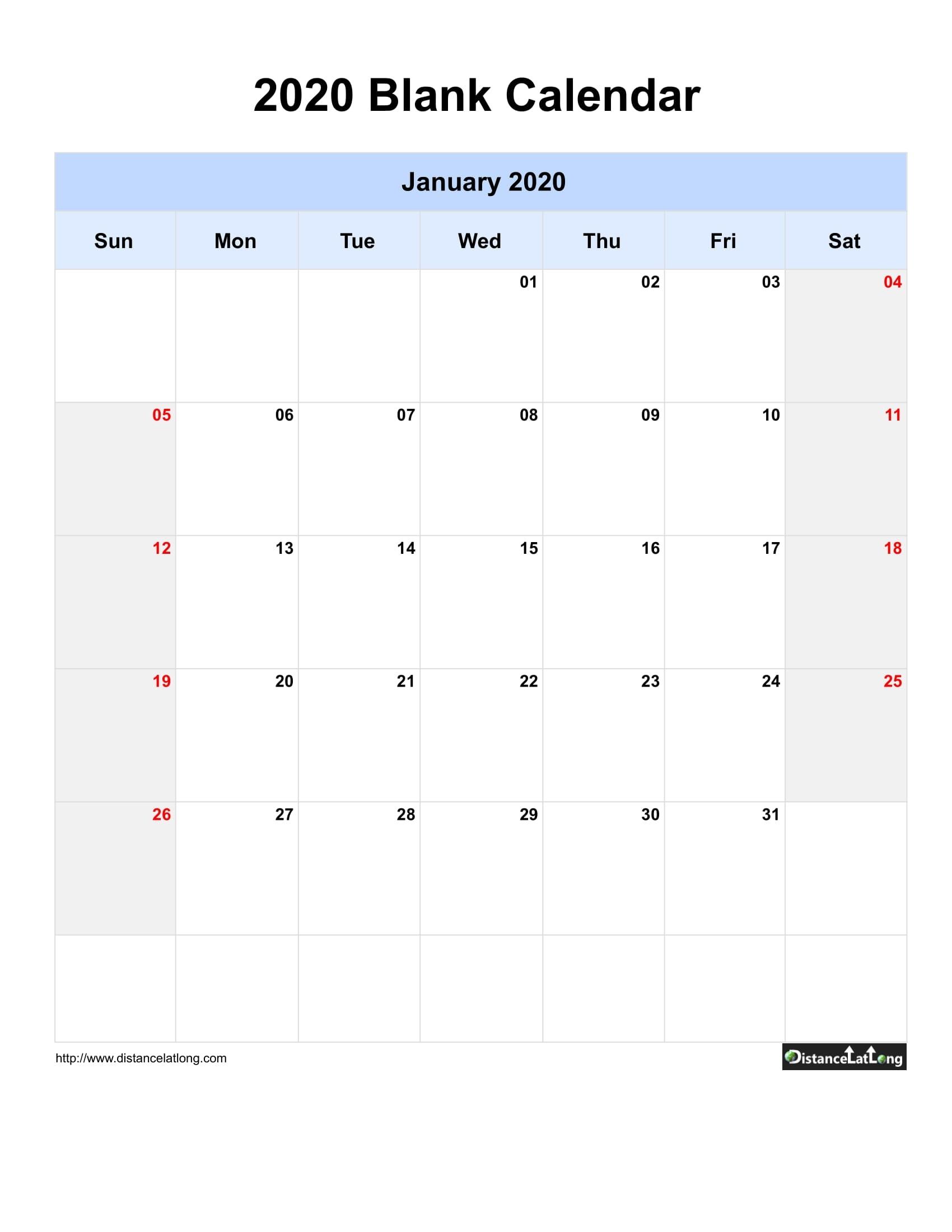 Blank Year 2019-2020 Calendar Templates, Free Printable