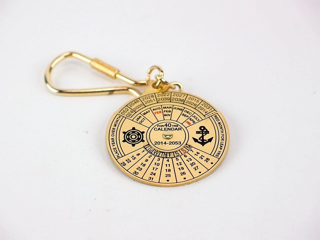Brass Keyring - 40-Year Calendar