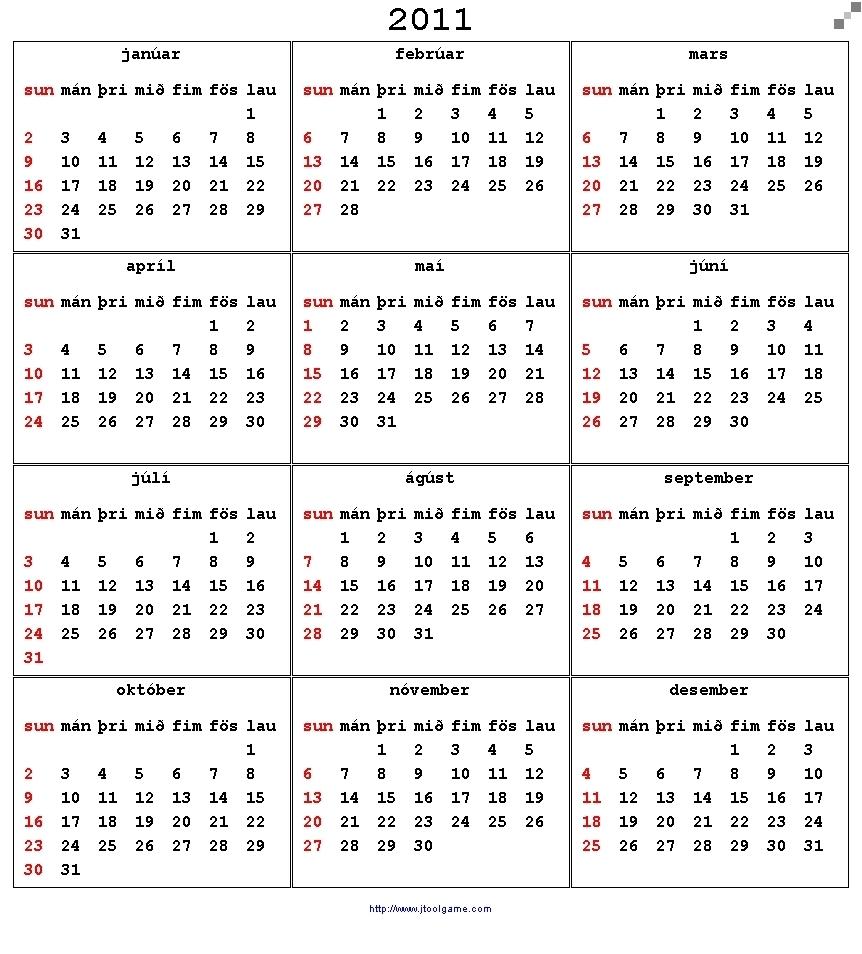 Calendar 2011 - Printable Calendar With Holiday List