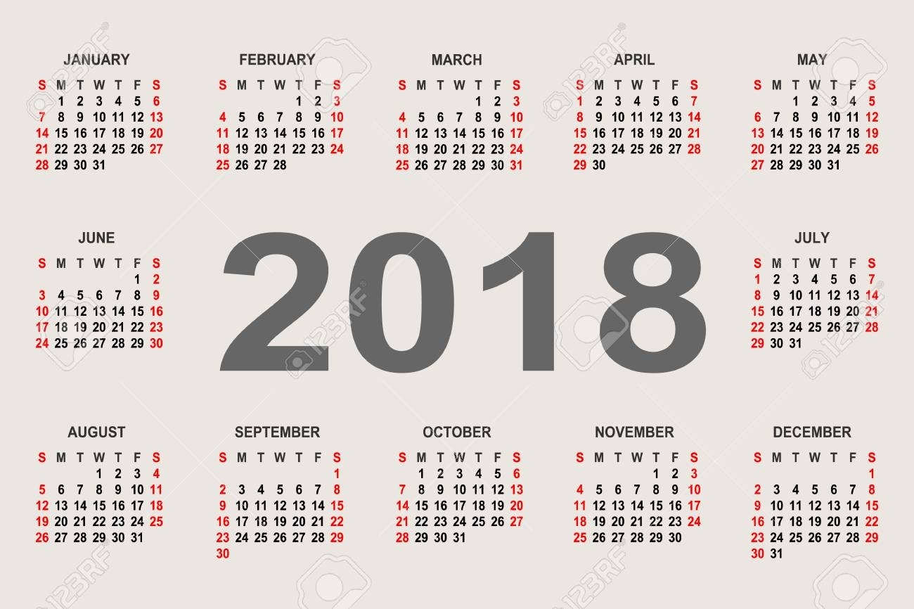 Calendar 2018 Year Vector Design Template. The Week Starts On..