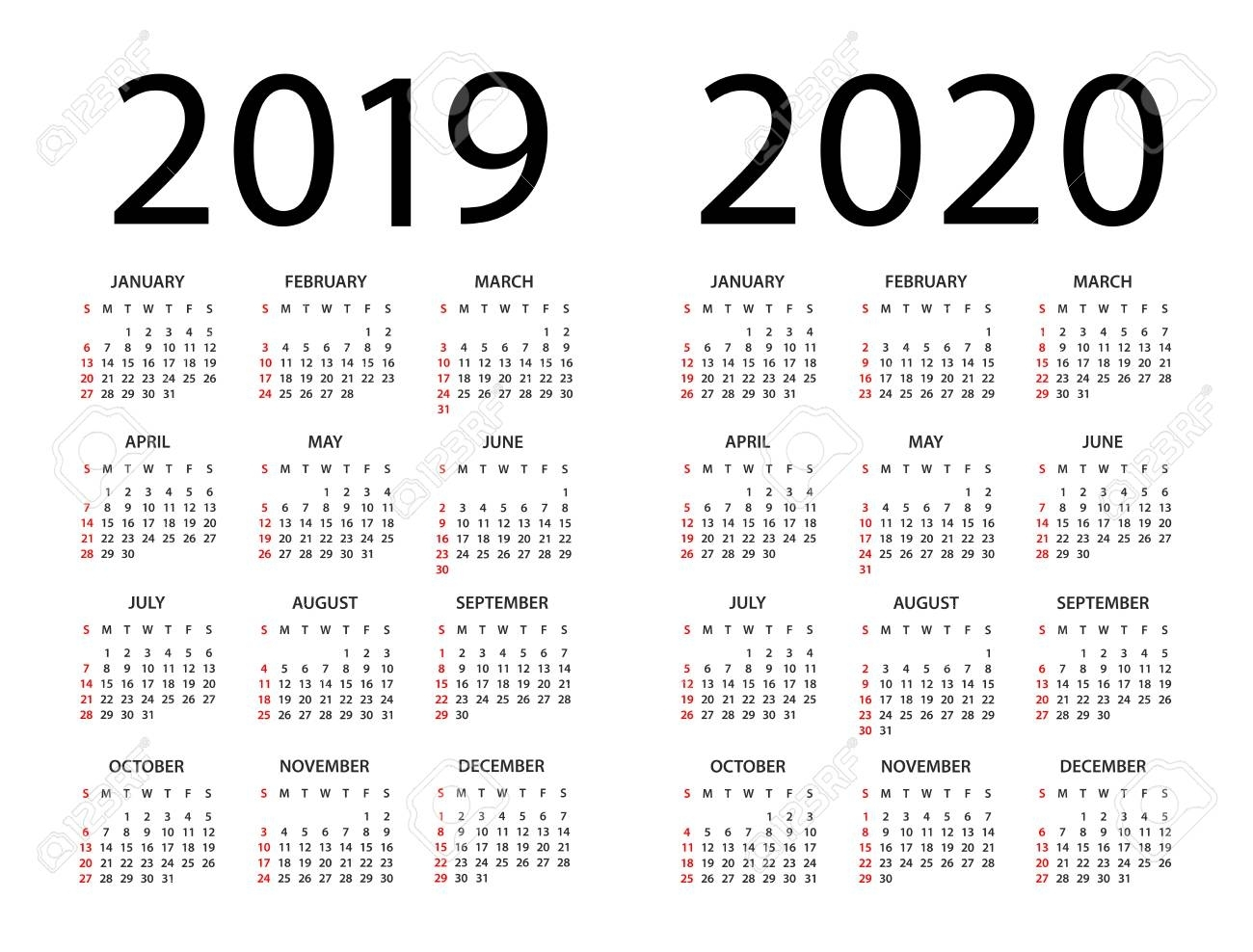 Calendar 2019 2020 Year - Vector Illustration. Week Starts On..