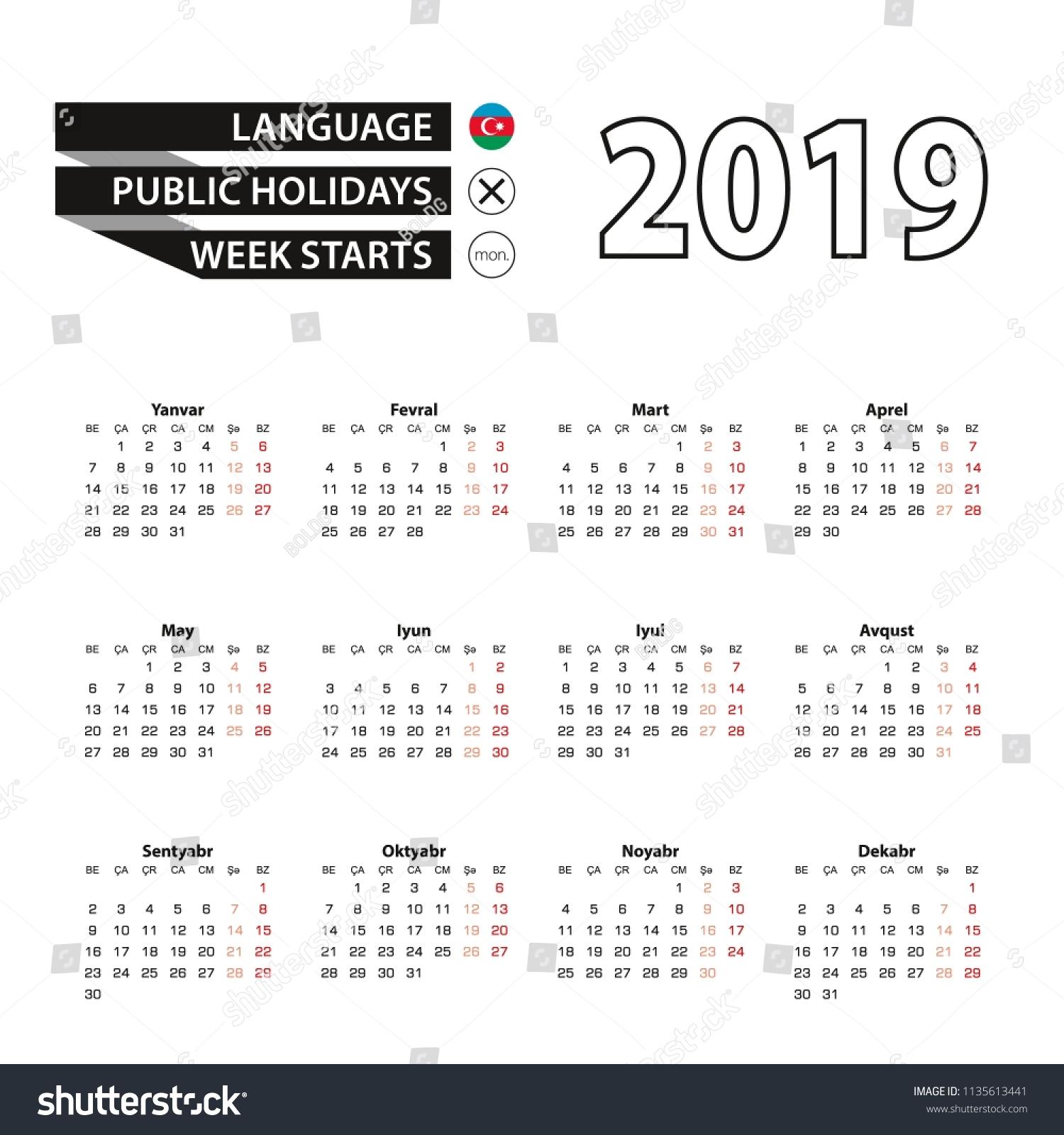 Calendar 2019 Azerbaijani Language Week Starts Stock Vector