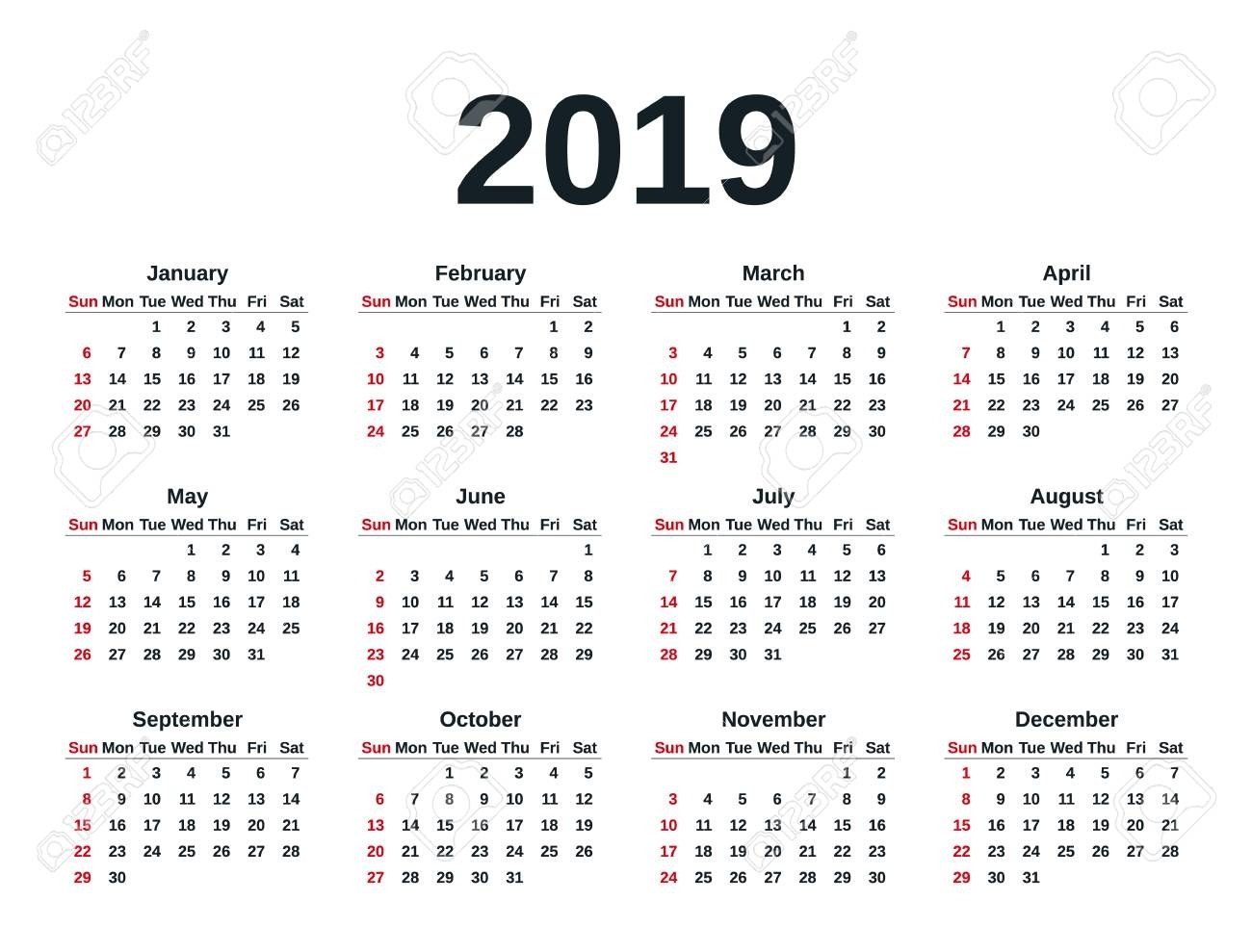 Calendar 2019 In Simple Style. Week Starts Sunday. Stationery..