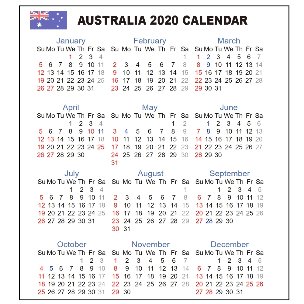 Calendar 2020 Australia | Australia 2020 Yearly Printable
