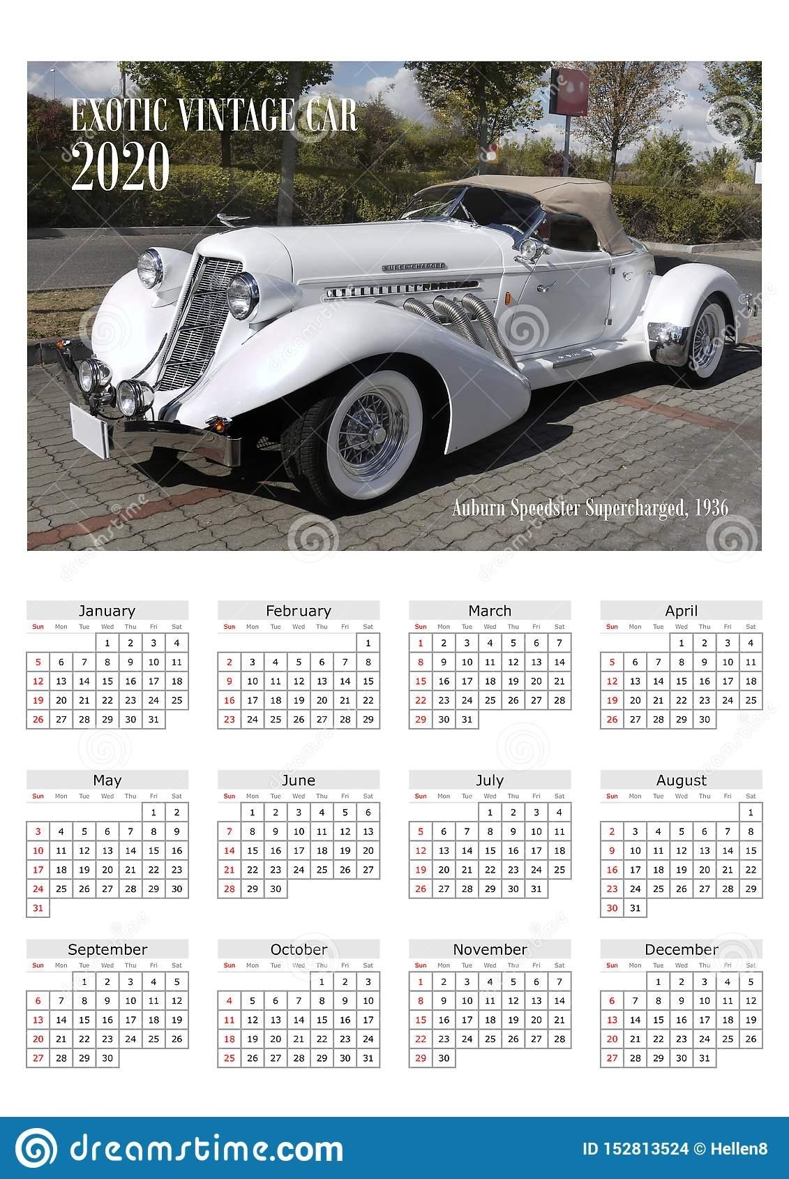 Calendar 2020 Exotic Cars Stock Photo. Image Of Wallcalendar