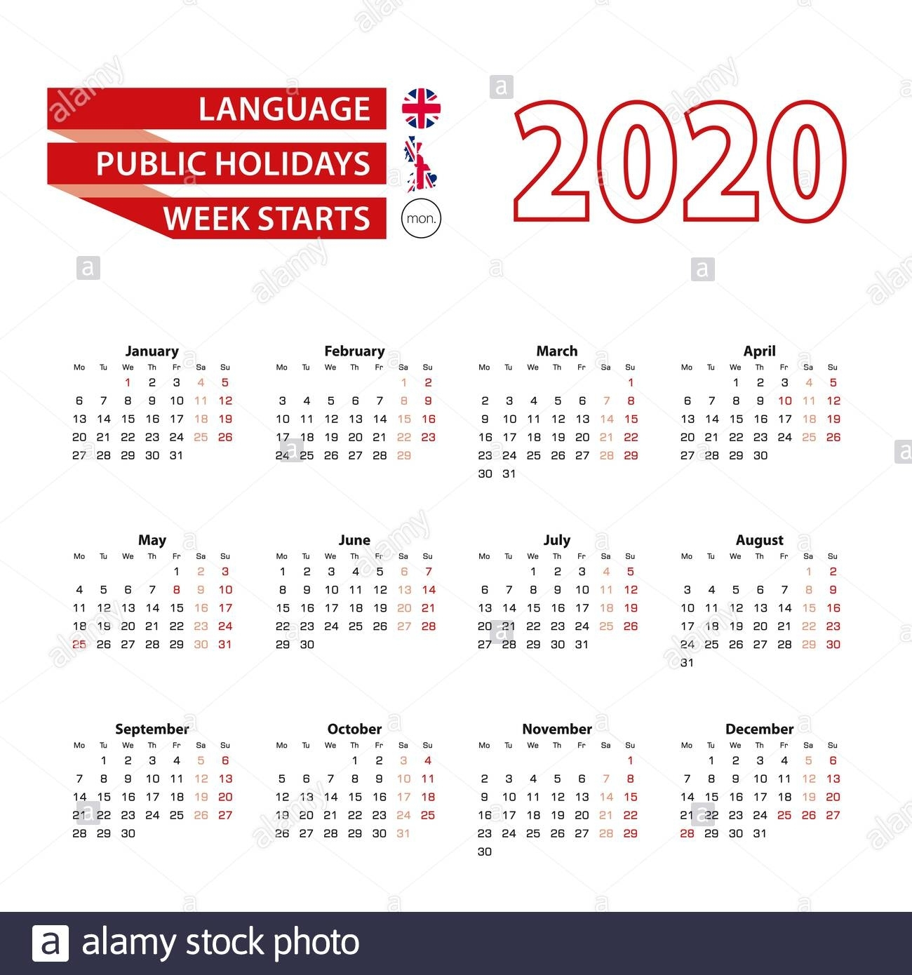 Calendar 2020 In English Language With Public Holidays Of
