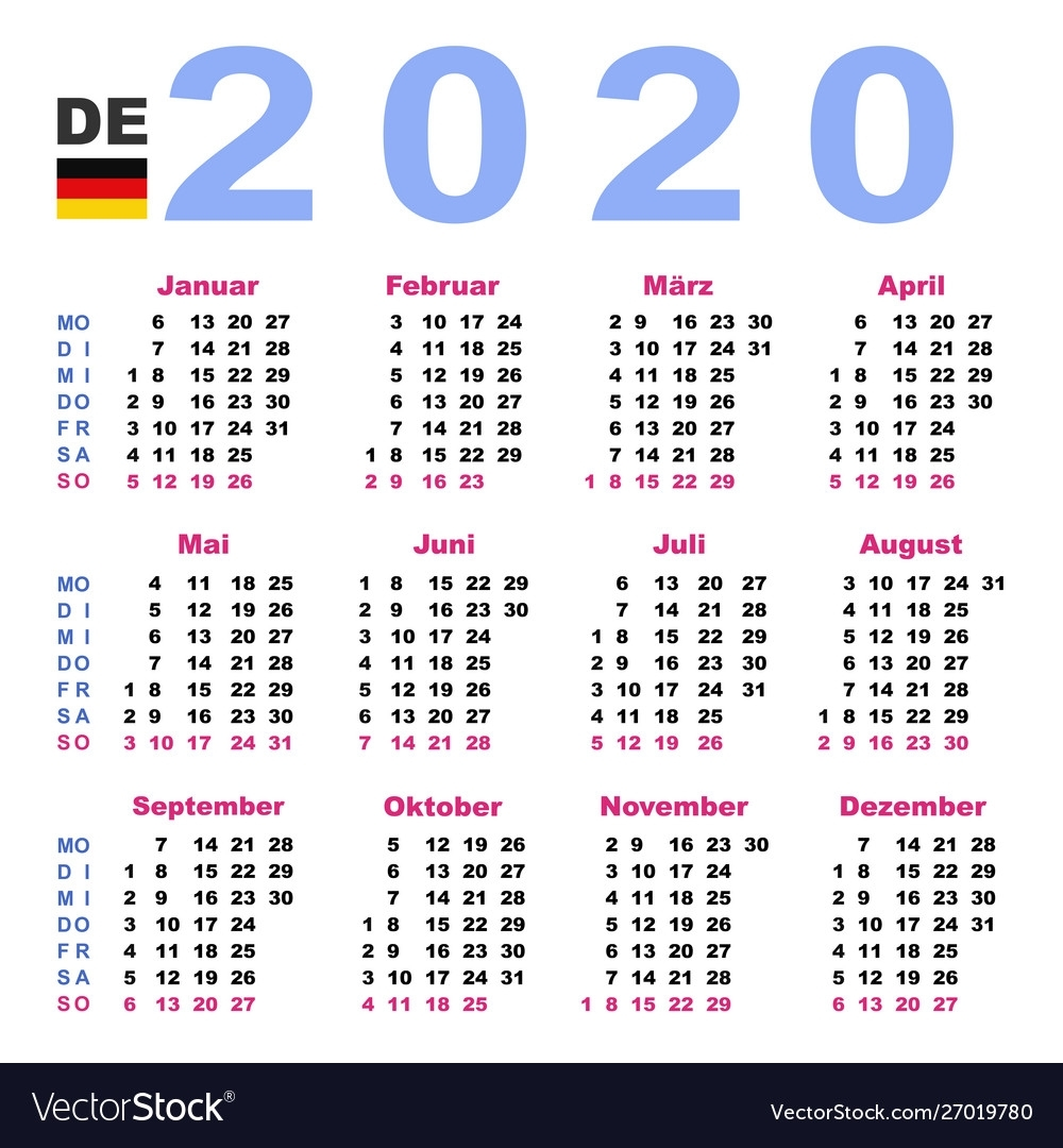 Calendar 2020 In German Horizontal Week Starts