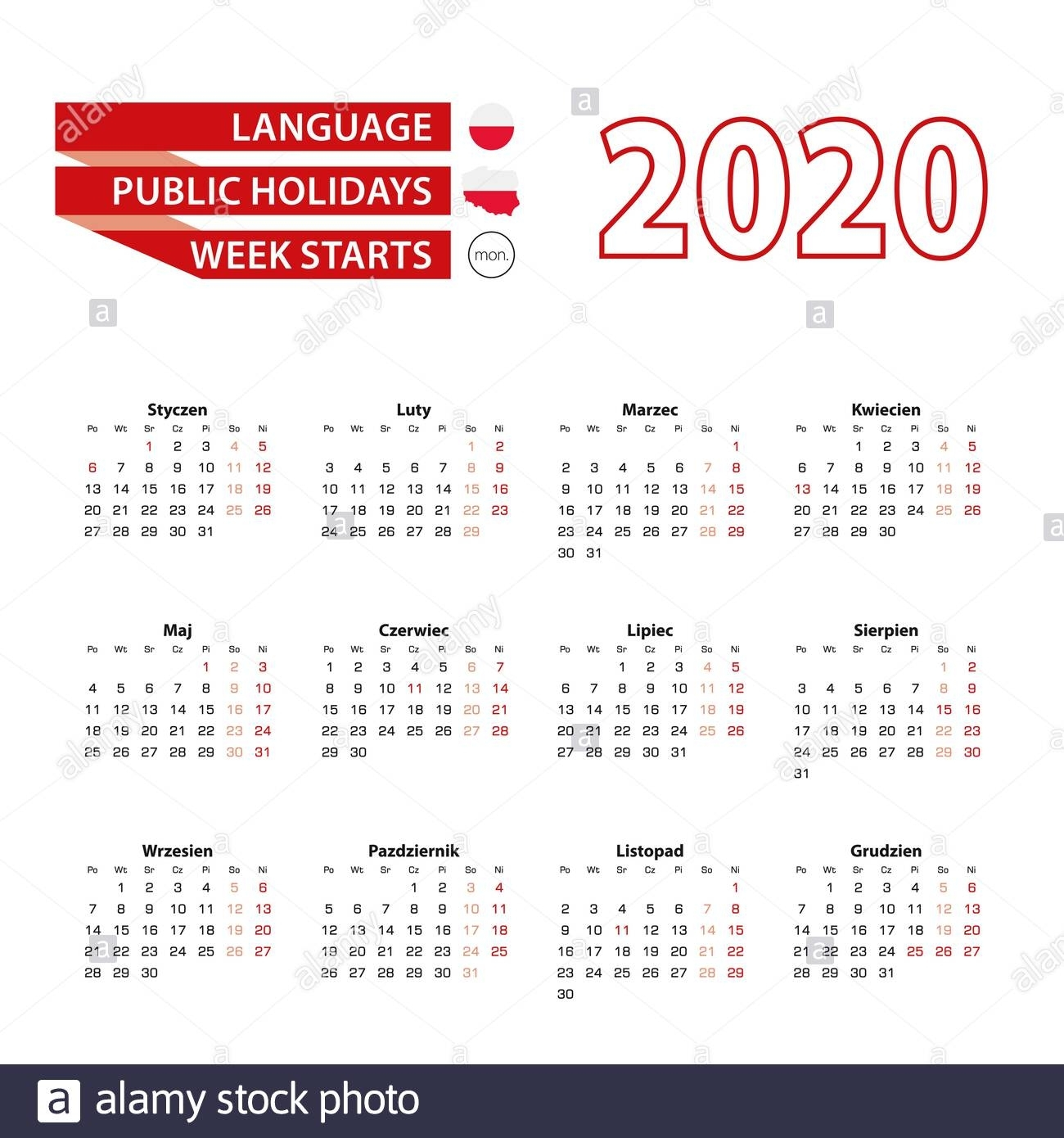Calendar 2020 In Polish Language With Public Holidays The