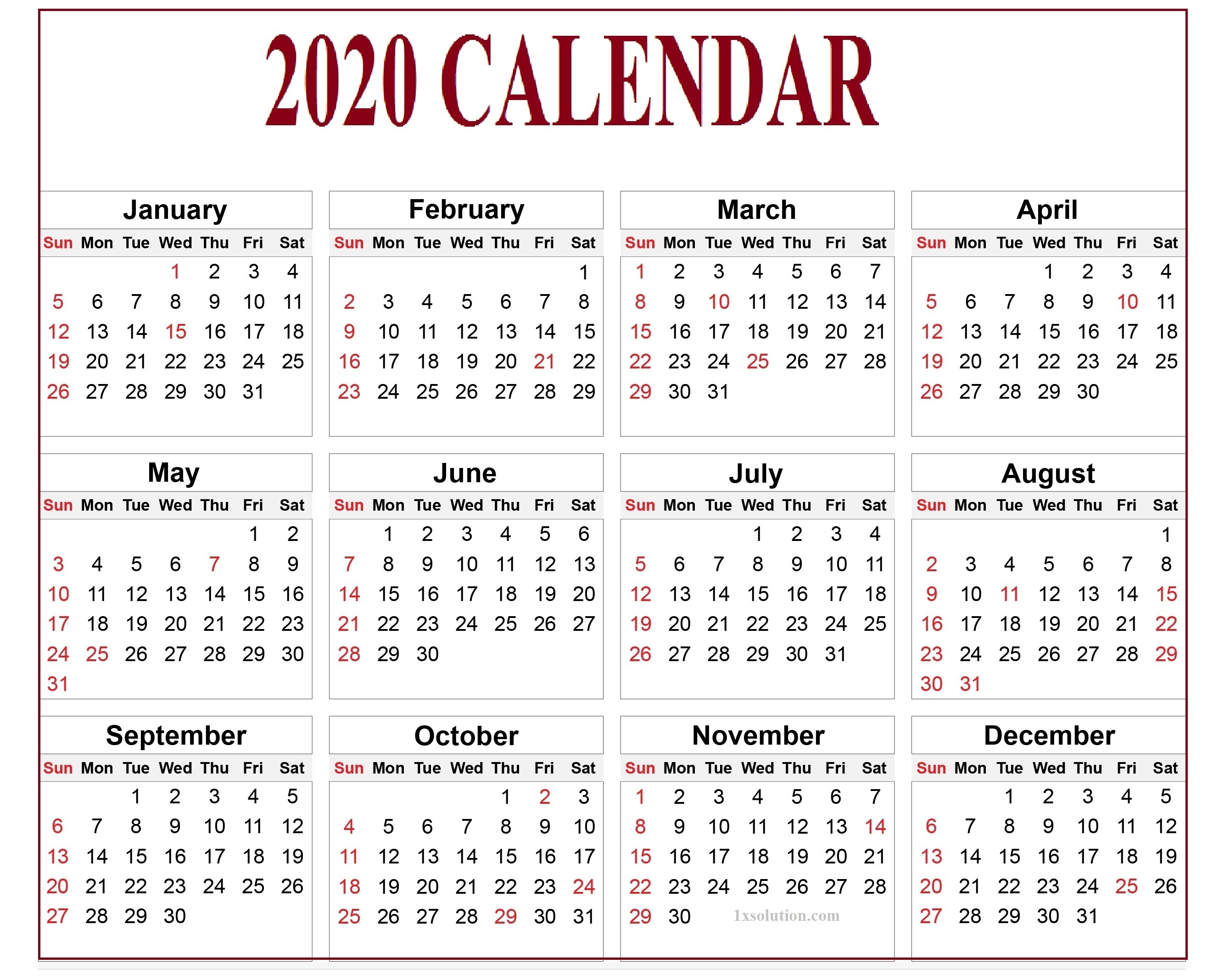 Calendar 2020 Pdf For Mark Your Daily Class | | Calendar