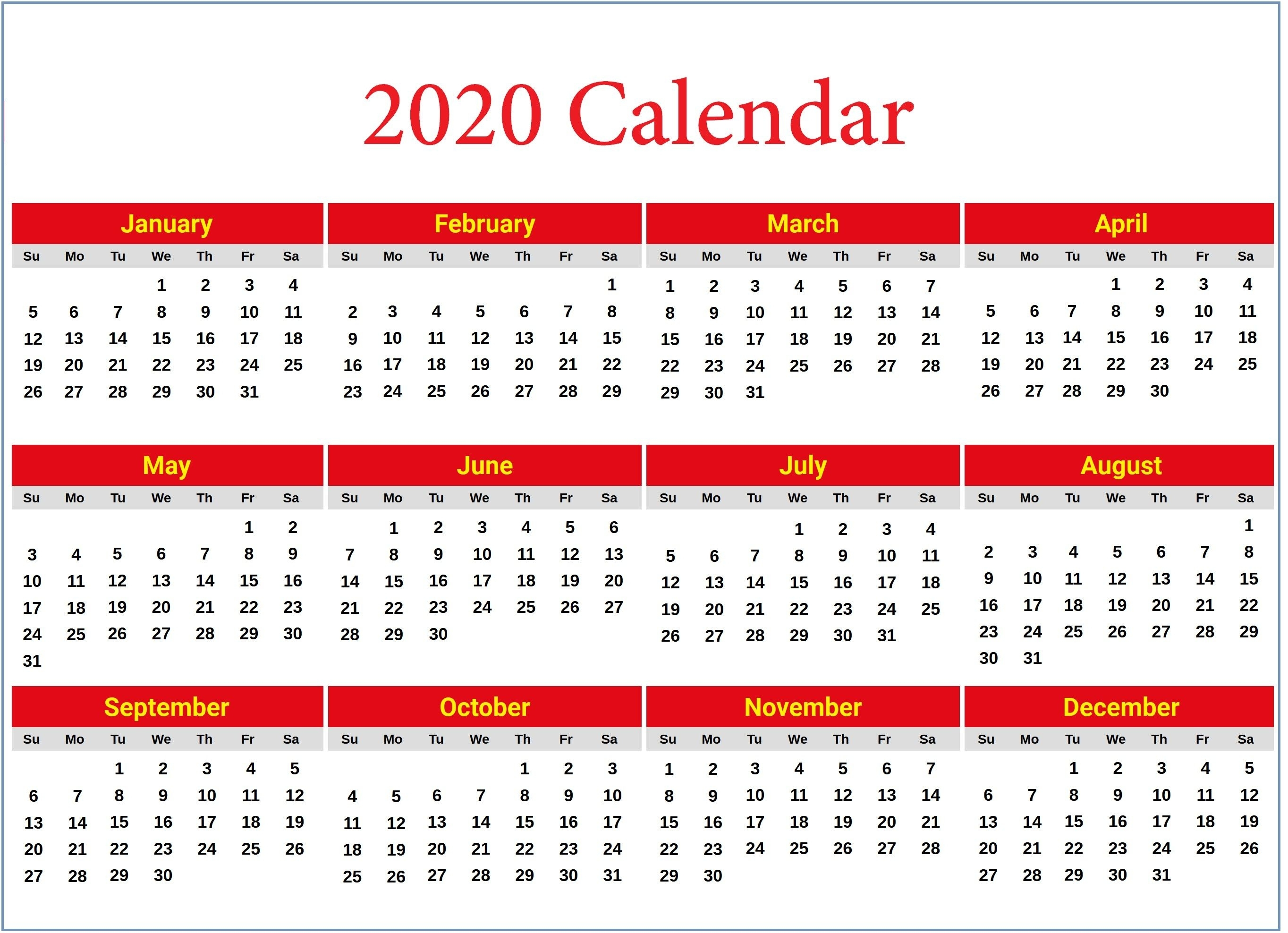 Calendar 2020 Printable With Holidays Di 2020