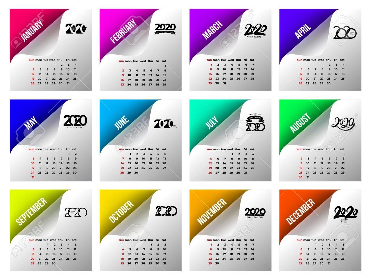 Calendar 2020 Template. Calendar Design In Black And White Colors,..