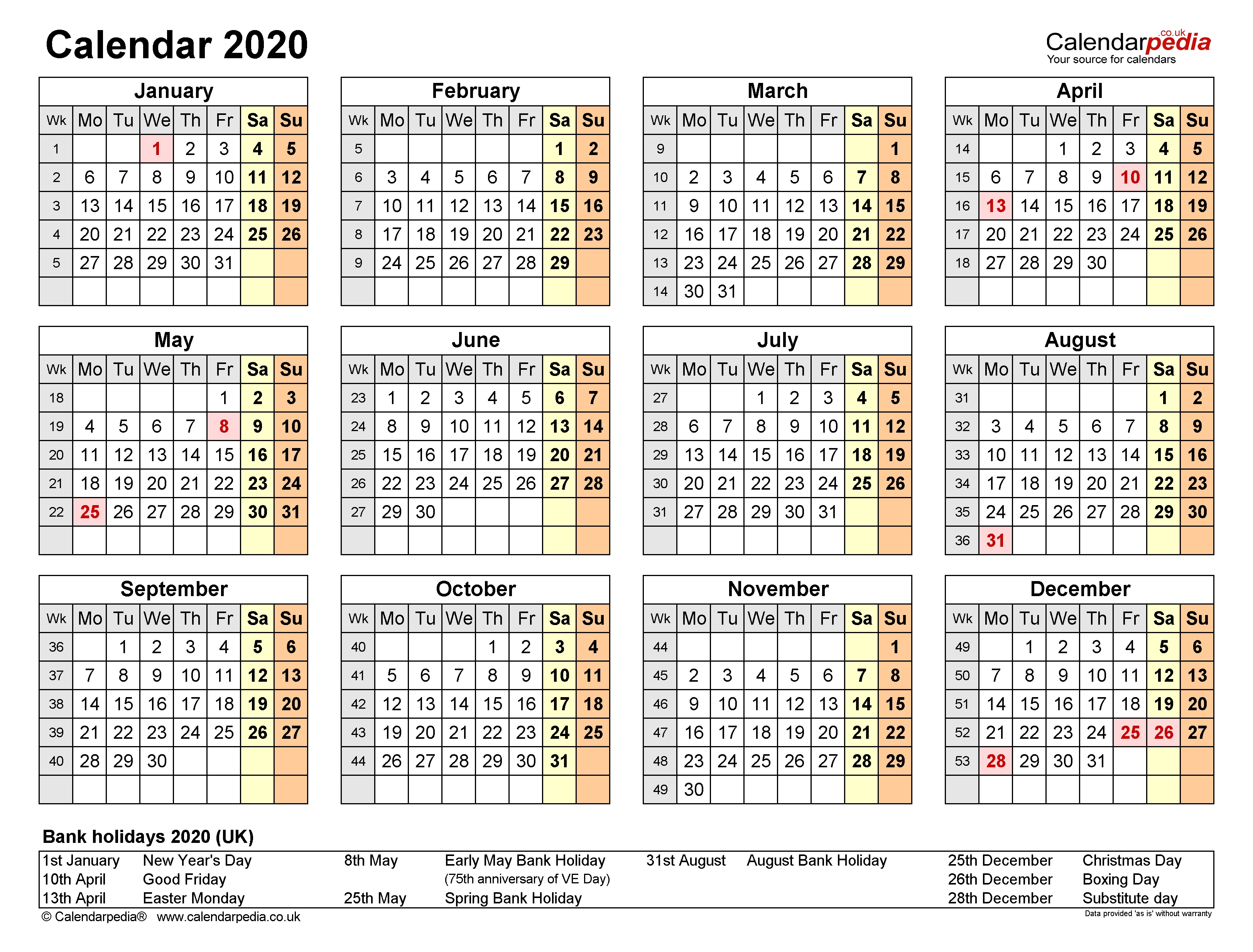 Calendar 2020 (Uk) | 17 Free Printable Pdf Templates