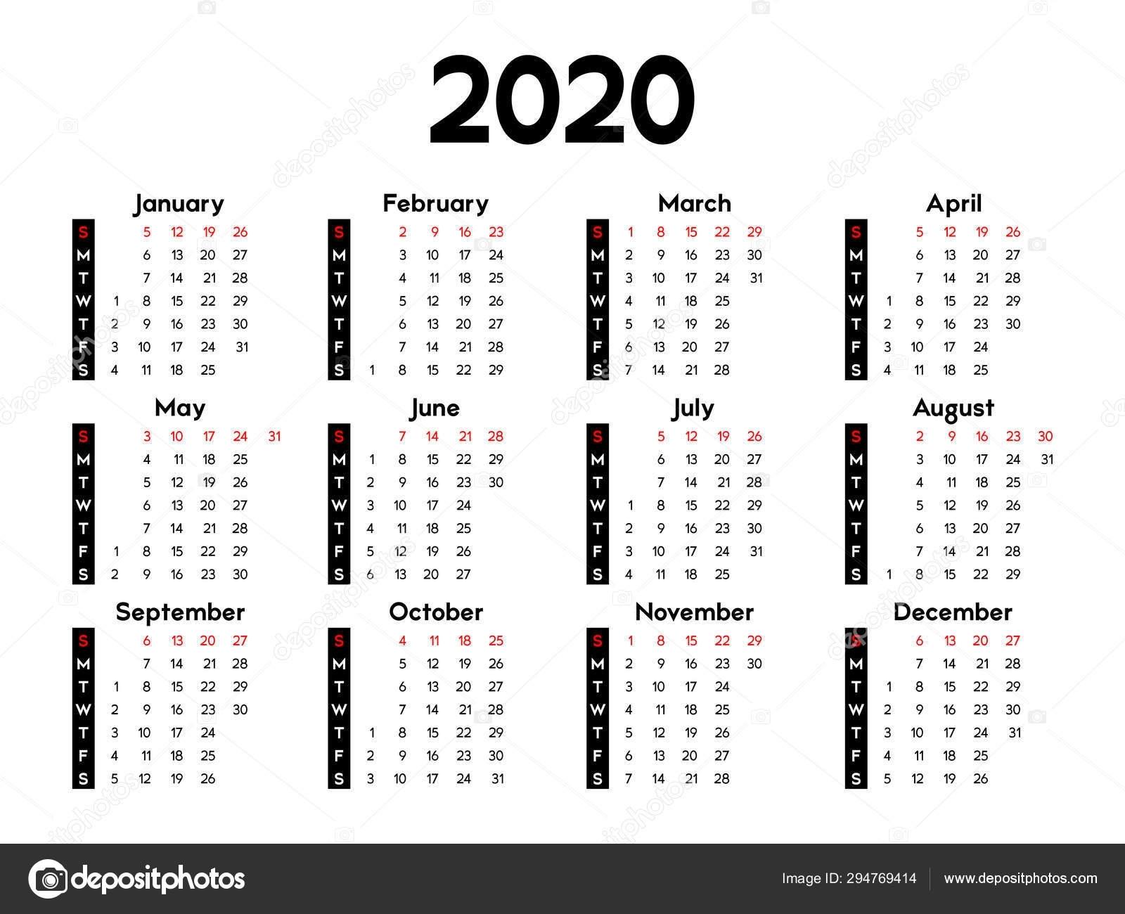 Calendar 2020 Week Starts Sunday Basic Business Template