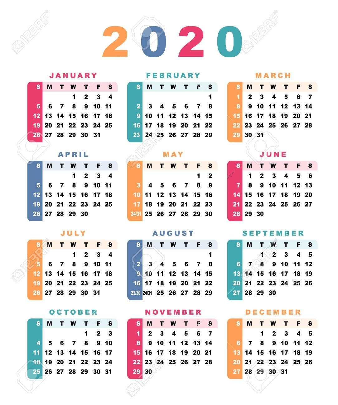 Calendar 2020 (Week Starts With Sunday). Vector Illustration.