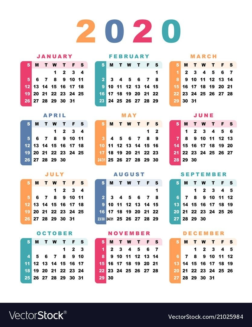 Calendar 2020 Week Starts With Sunday Vector Image On