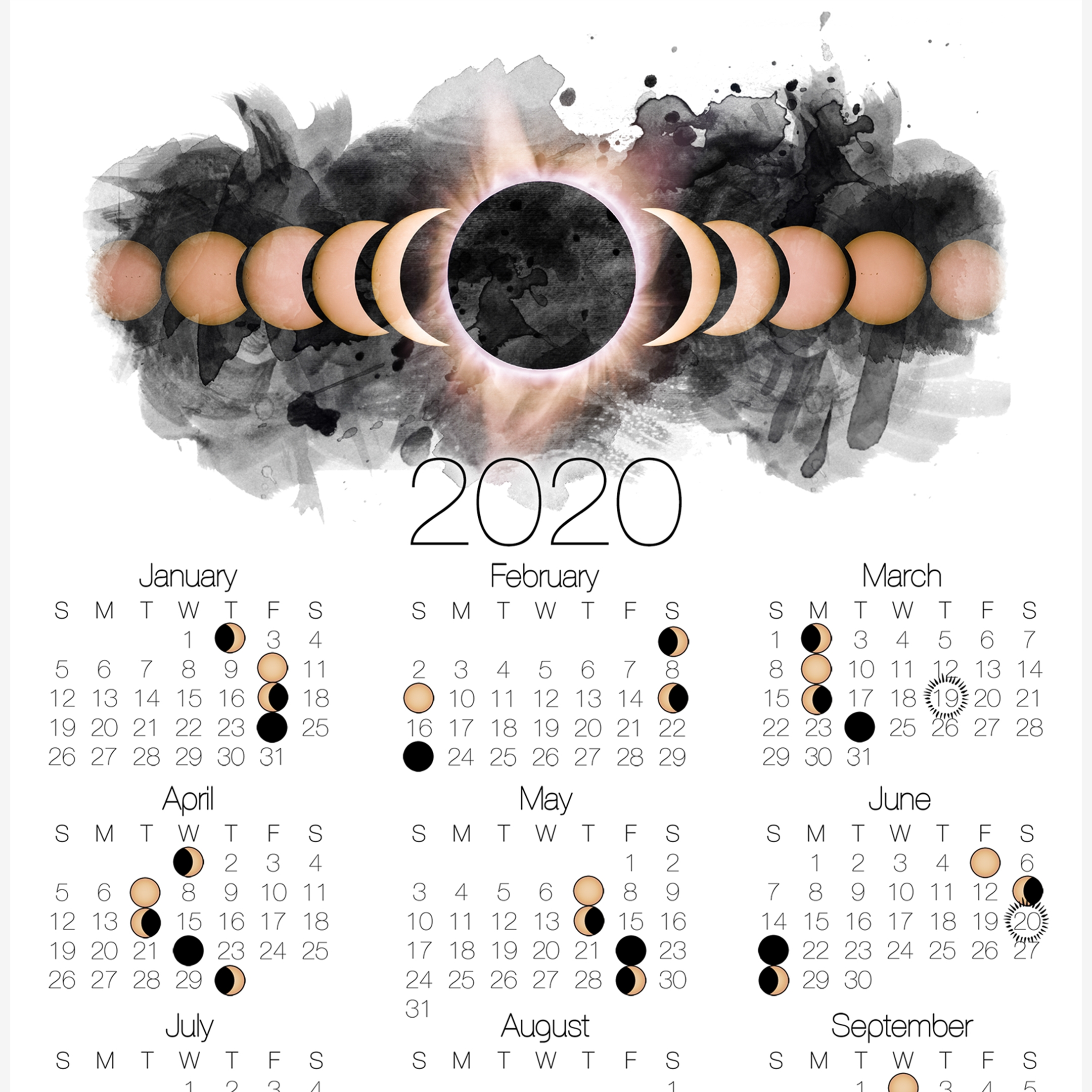 Calendar 2020 With Moon Phases | Calendar Printables Free