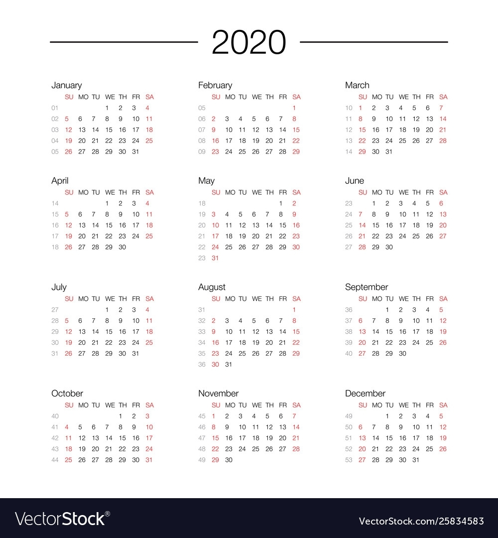 Calendar 2020 Year Template Day Planner In This