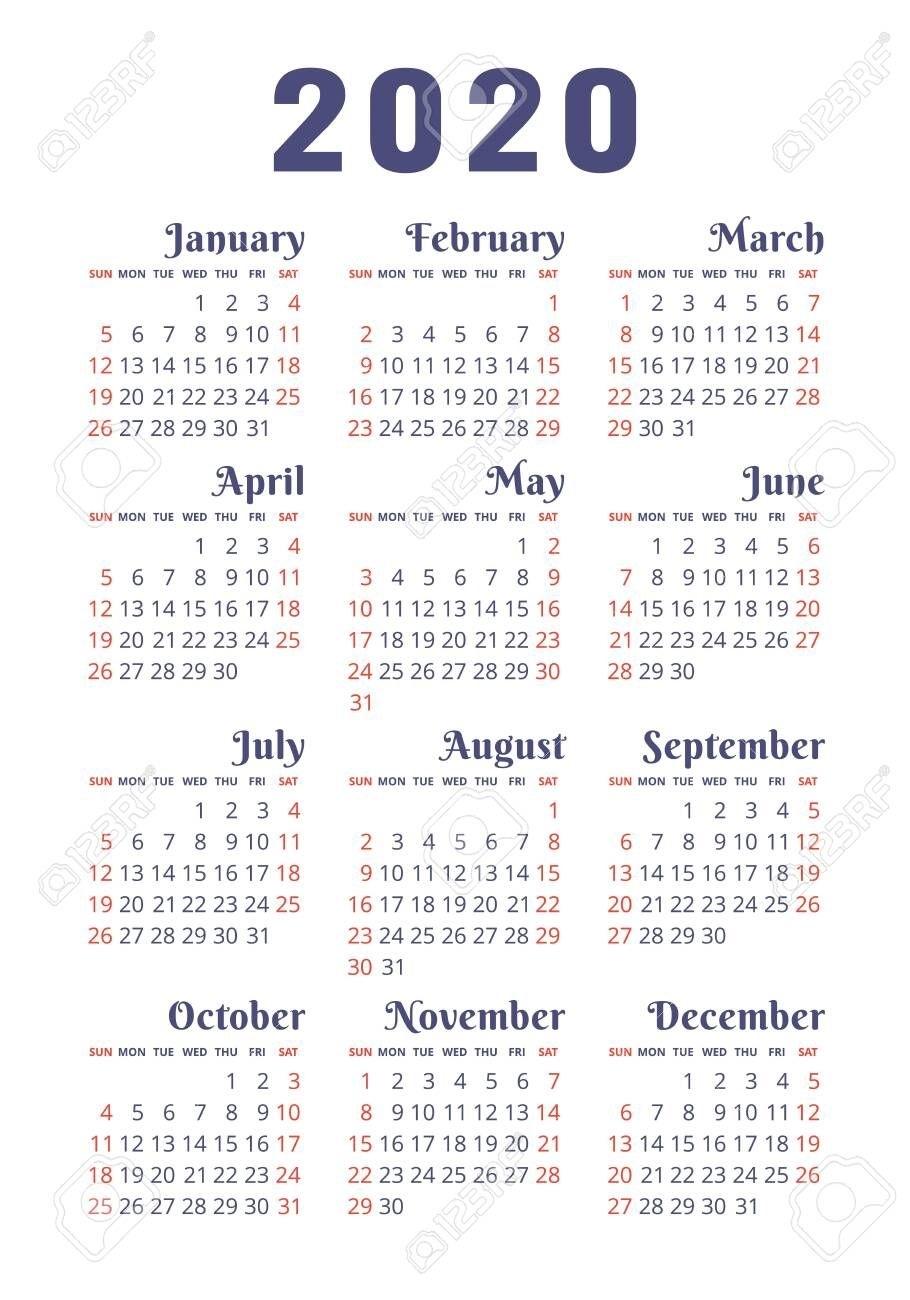 Calendar 2020 Year. Vector Design Template. English Vertical