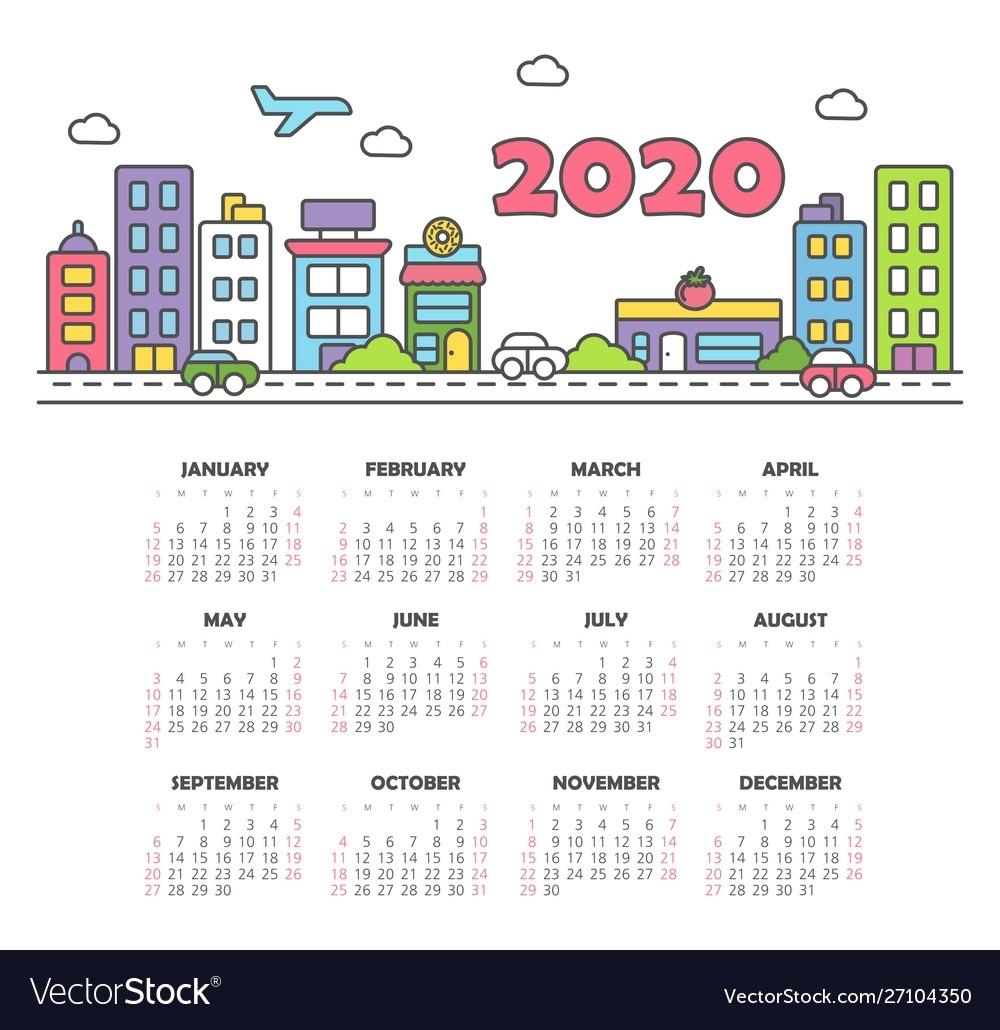 Calendar 2020 Year Week Starts From Sunday