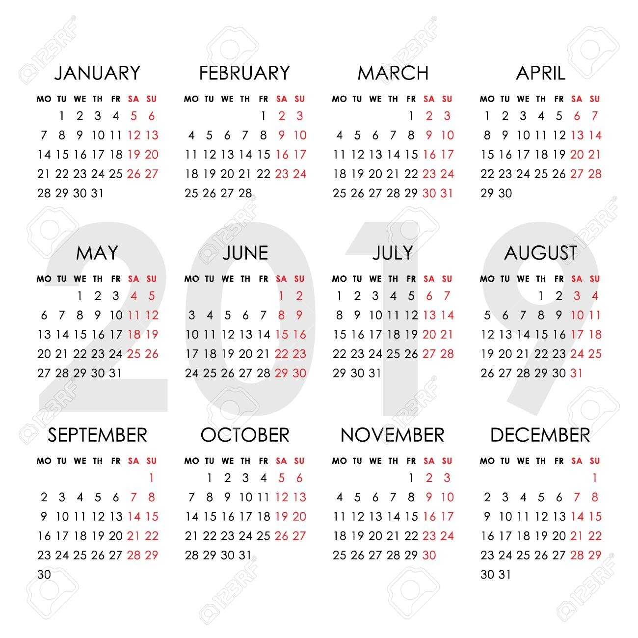 Calendar For 2019 Year Isolated On A White Background. Week Starts..