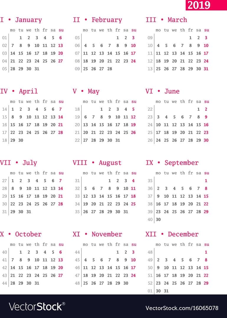 Calendar Week Of The Year