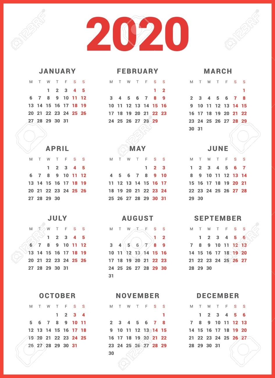 Calendar For 2020 Year On White Background. Week Starts Monday