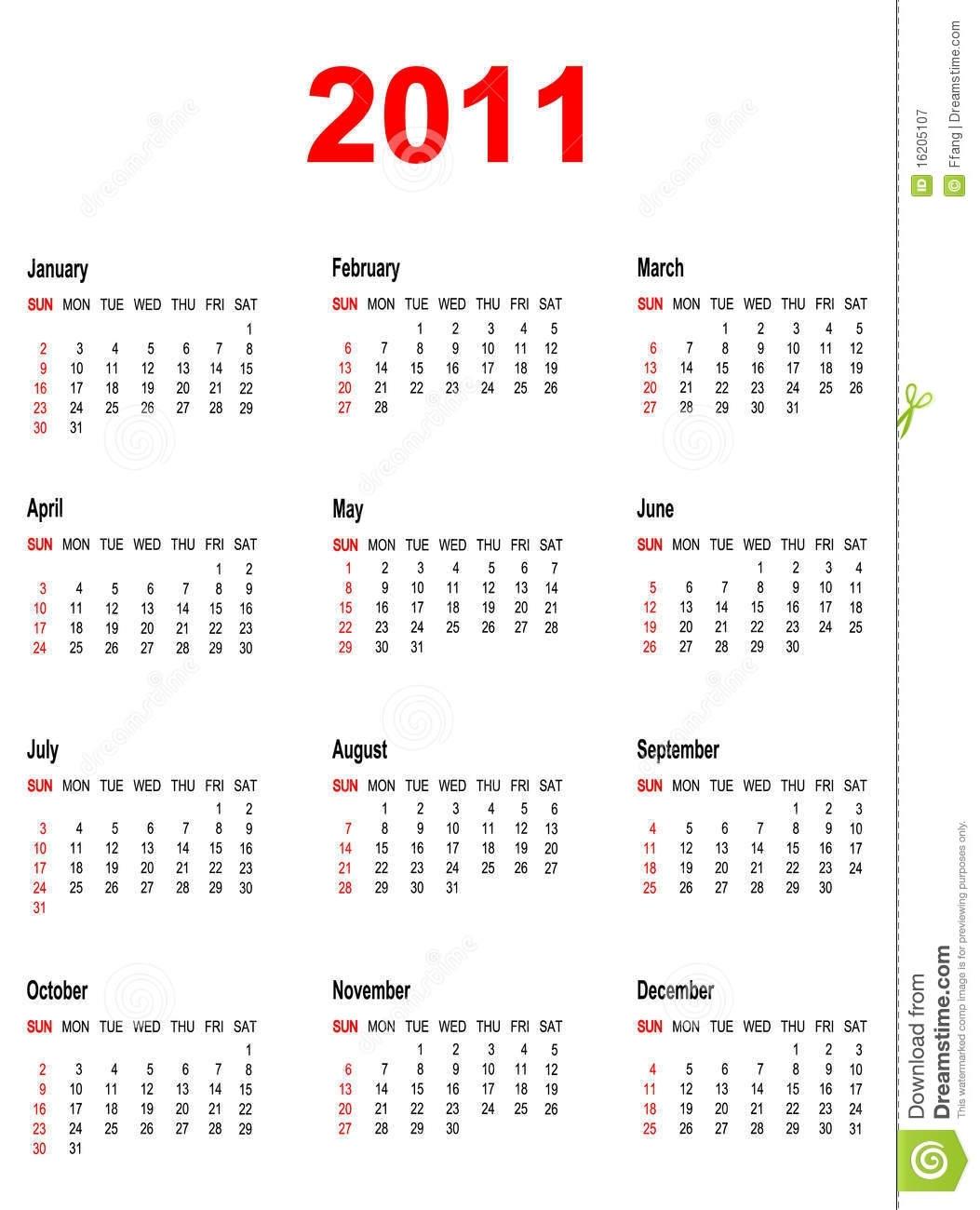 Calendar For Year 2011. Stock Vector. Illustration Of June