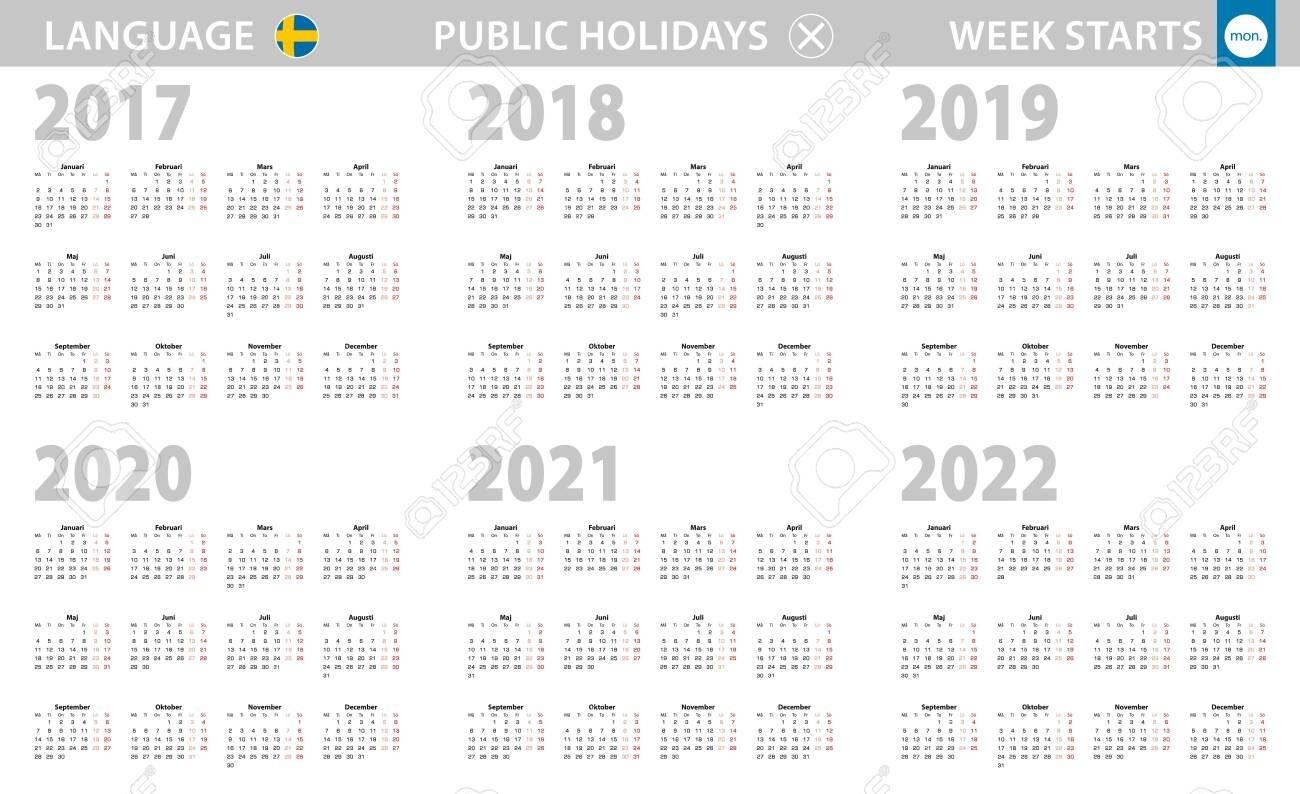 Calendar In Swedish Language For Year 2017, 2018, 2019, 2020,..