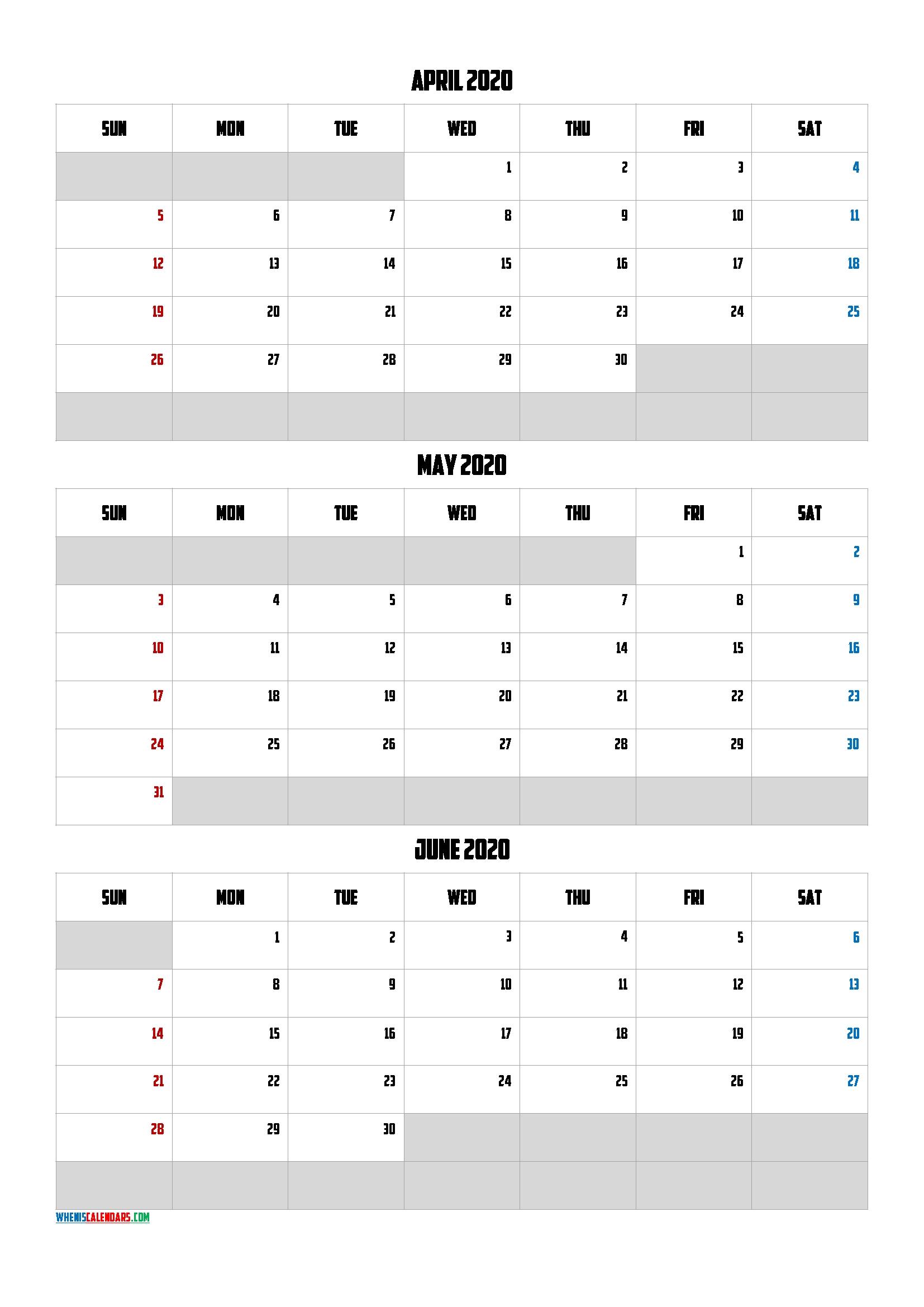 Calendar January February March 2020 [Q1-Q2-Q3-Q4] – Free